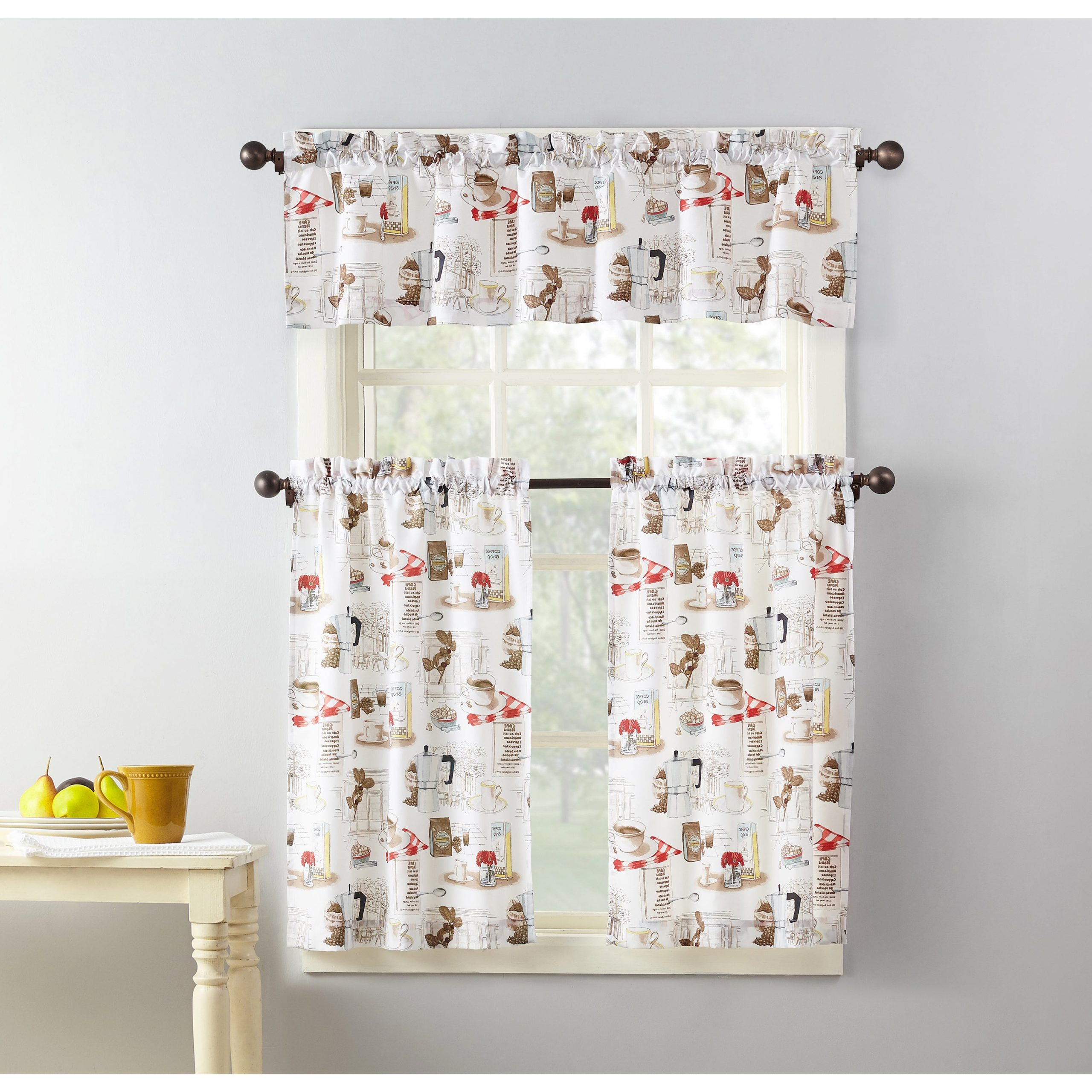 Favorite Embroidered 'coffee Cup' 5 Piece Kitchen Curtain Sets With No. 918 Brew Coffee Shop Microfiber 3 Piece Kitchen Curtain Valance And  Tiers Set (Gallery 2 of 20)