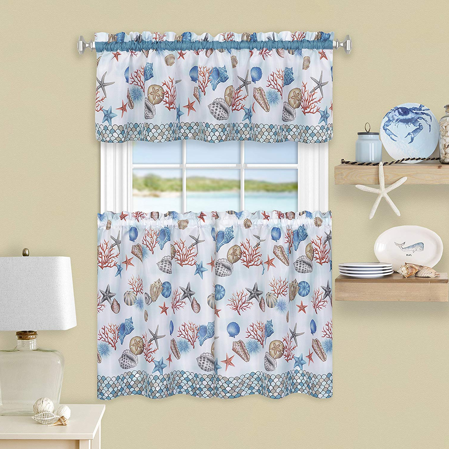 """Favorite Floral Watercolor Semi Sheer Rod Pocket Kitchen Curtain Valance And Tiers Sets Within Achim Home Furnishings, Blue Coastal Tier And Valance Window Curtain Set,  58"""" X 36"""" (View 4 of 20)"""