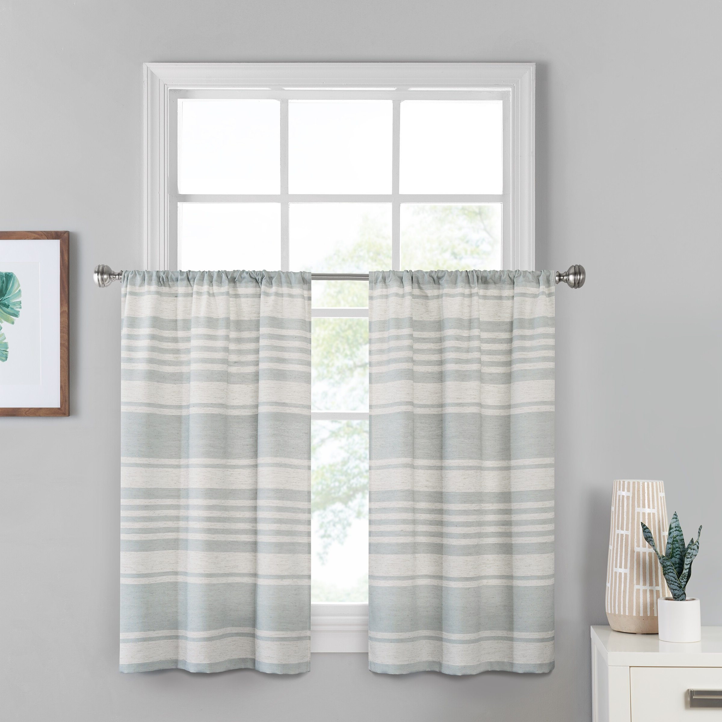 Favorite Geometric Print Microfiber 3 Piece Kitchen Curtain Valance And Tiers Sets Within Scheffler Window Solutions Kitchen Curtain (View 14 of 20)