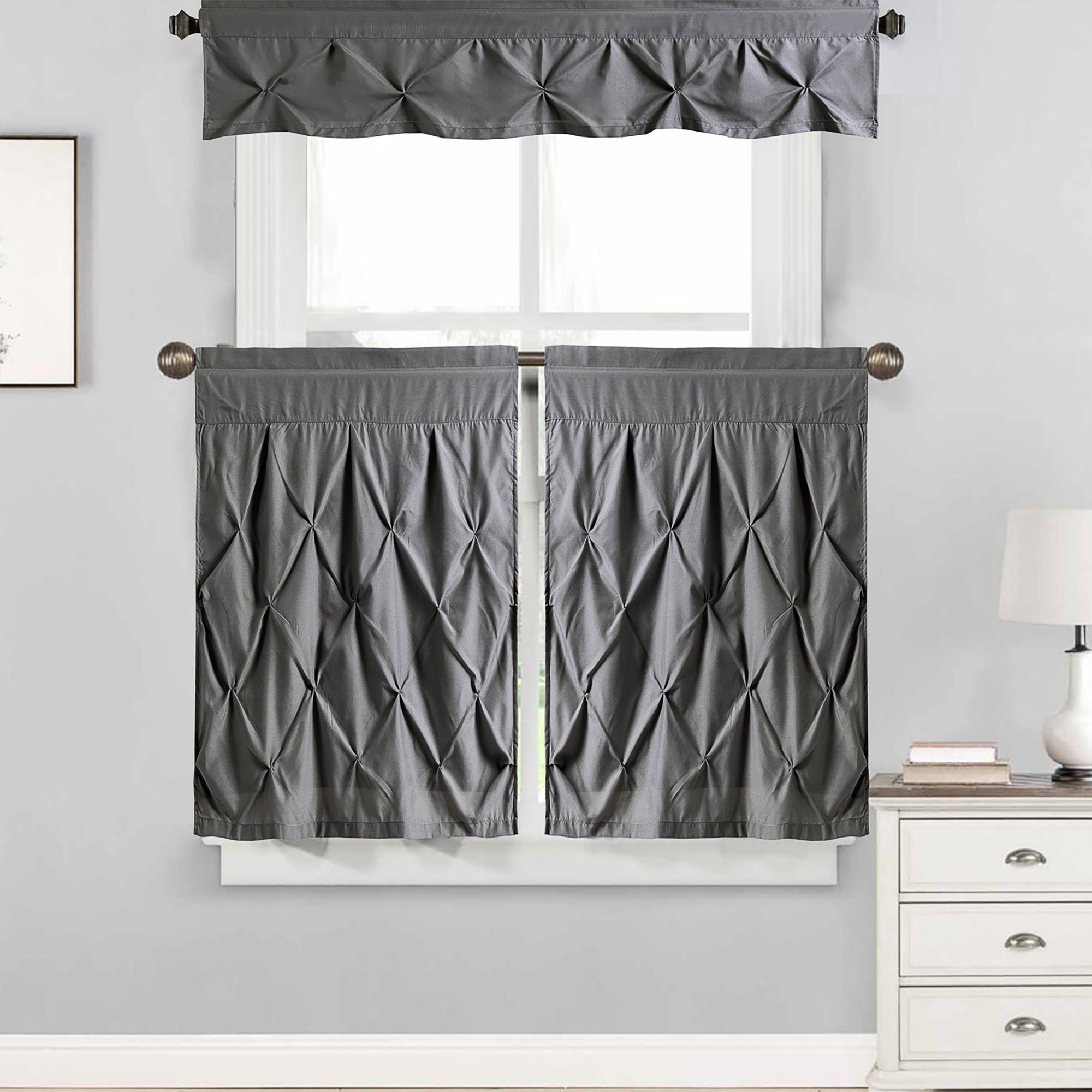 "Favorite Hudson Pintuck Window Curtain Tier And Valance Set (24""l Or 36""l) Grey Throughout Window Curtain Tier And Valance Sets (View 7 of 20)"