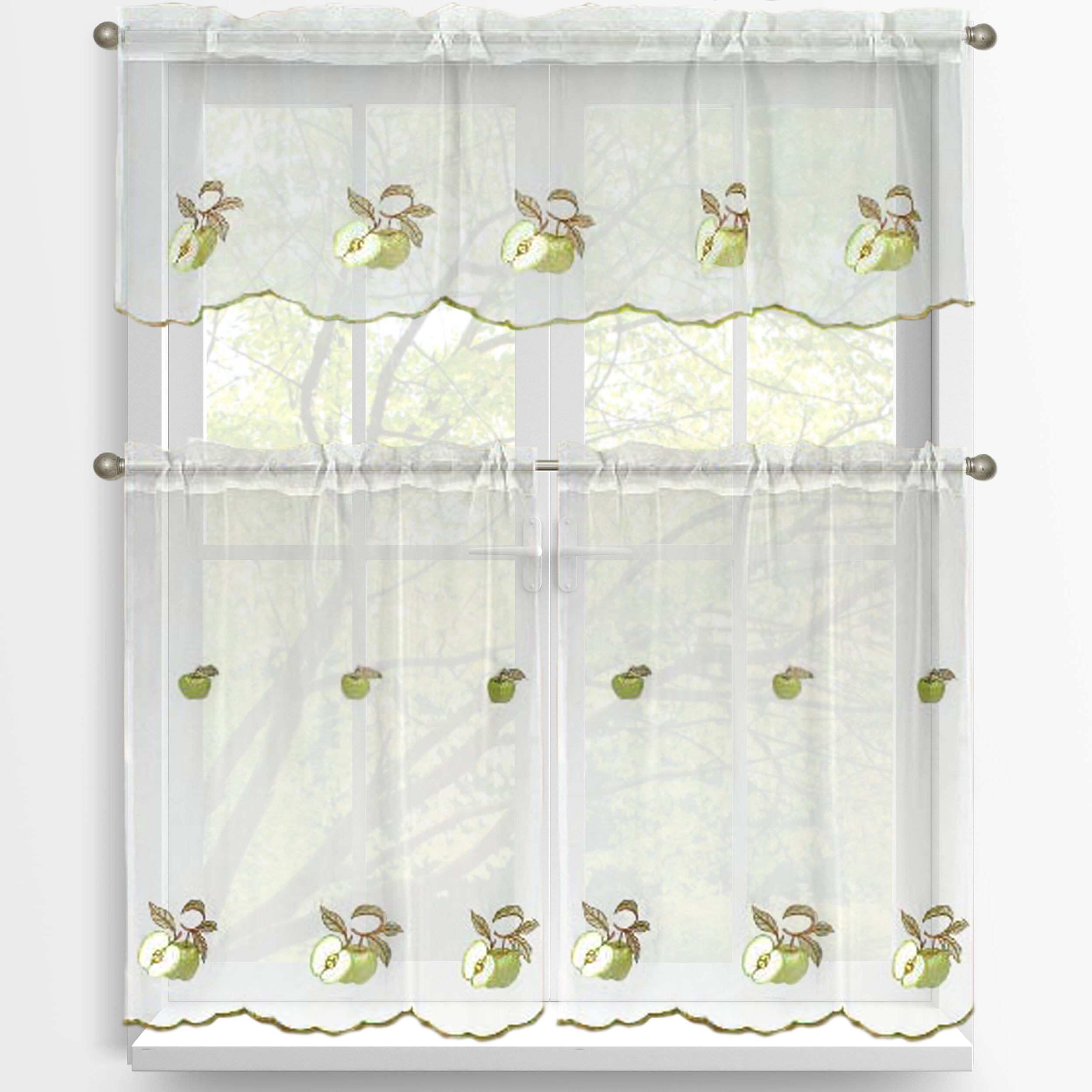 Favorite Kitchen Curtain Tiers For Green Apples 3 Piece Embroidered Kitchen Tier And Valance Set (View 3 of 20)