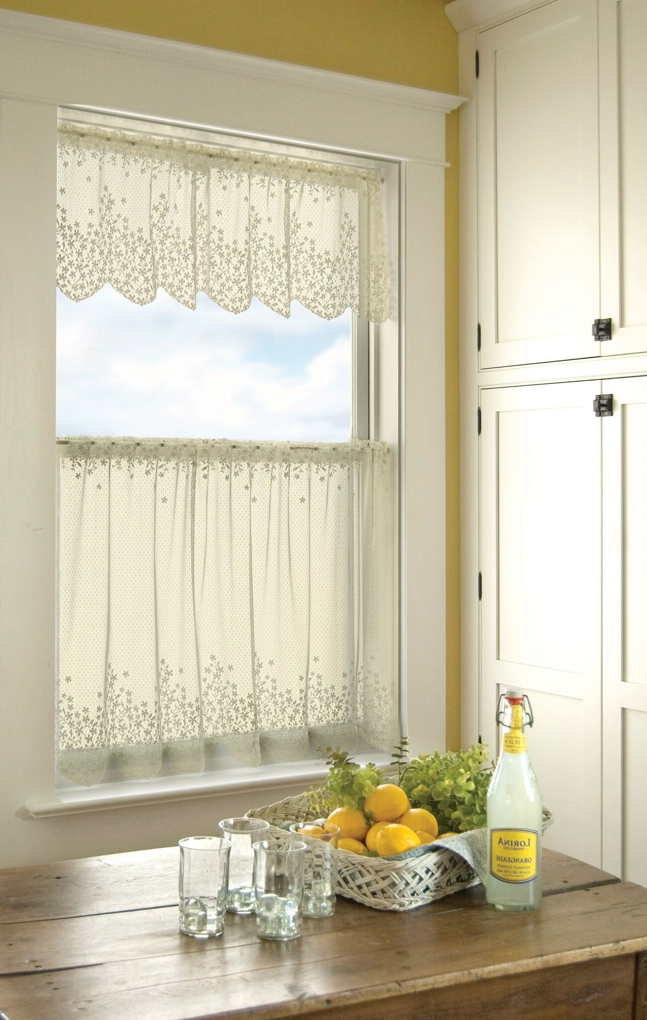 Favorite Lemon Drop Tier And Valance Window Curtain Sets With Regard To Blossom Curtain Collection – Ecru (View 18 of 20)