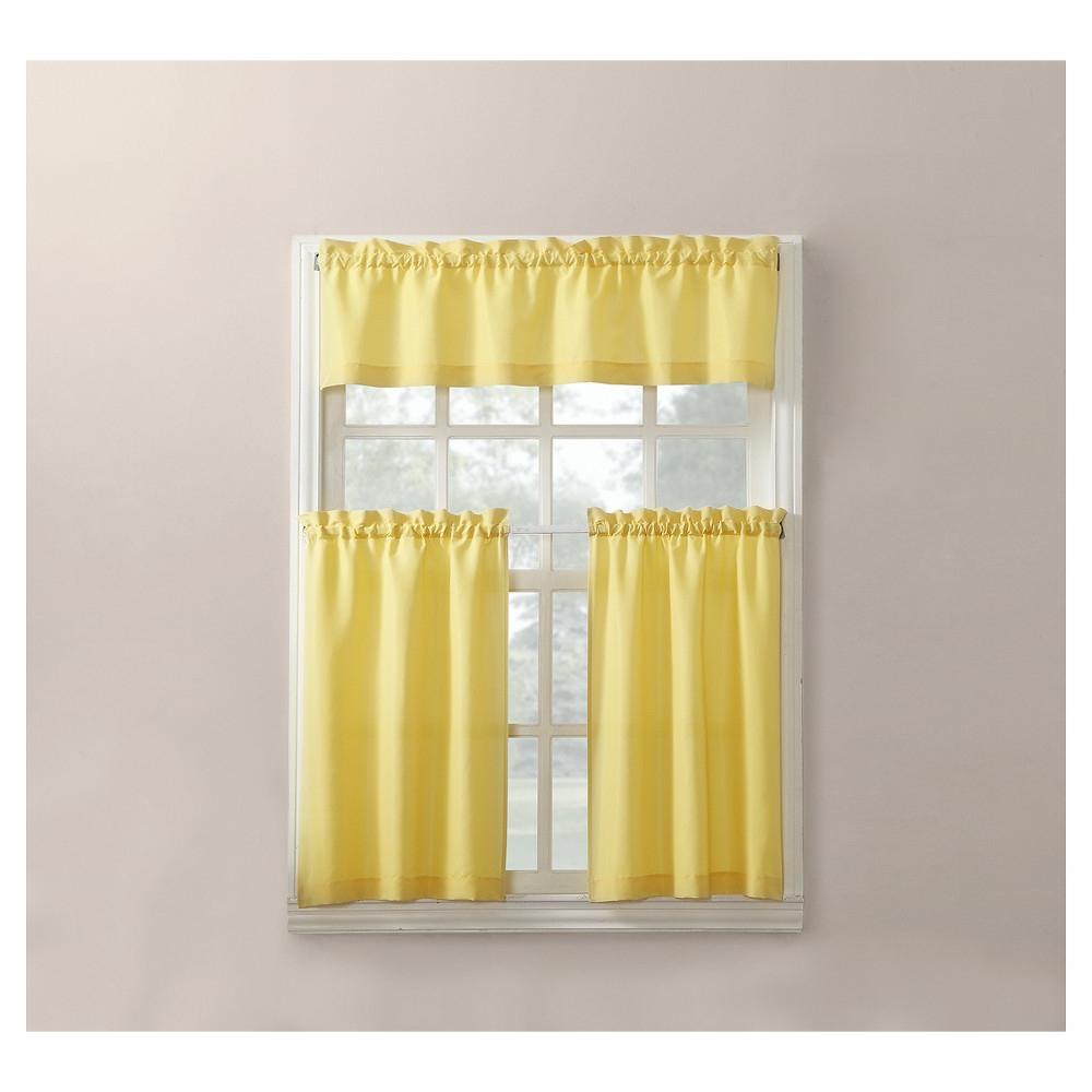 Favorite Martine Microfiber 3 Piece Kitchen Curtain Valance And Tiers For Microfiber 3 Piece Kitchen Curtain Valance And Tiers Sets (Gallery 5 of 20)