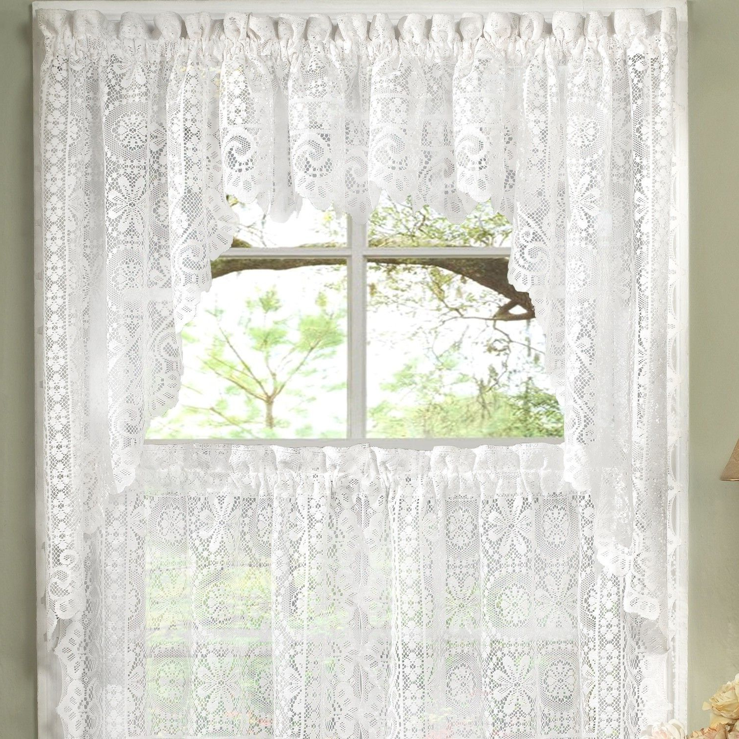 "Favorite Old World Style Floral Heavy Lace Kitchen 30"" Curtain With Regard To Floral Lace Rod Pocket Kitchen Curtain Valance And Tiers Sets (Gallery 8 of 20)"