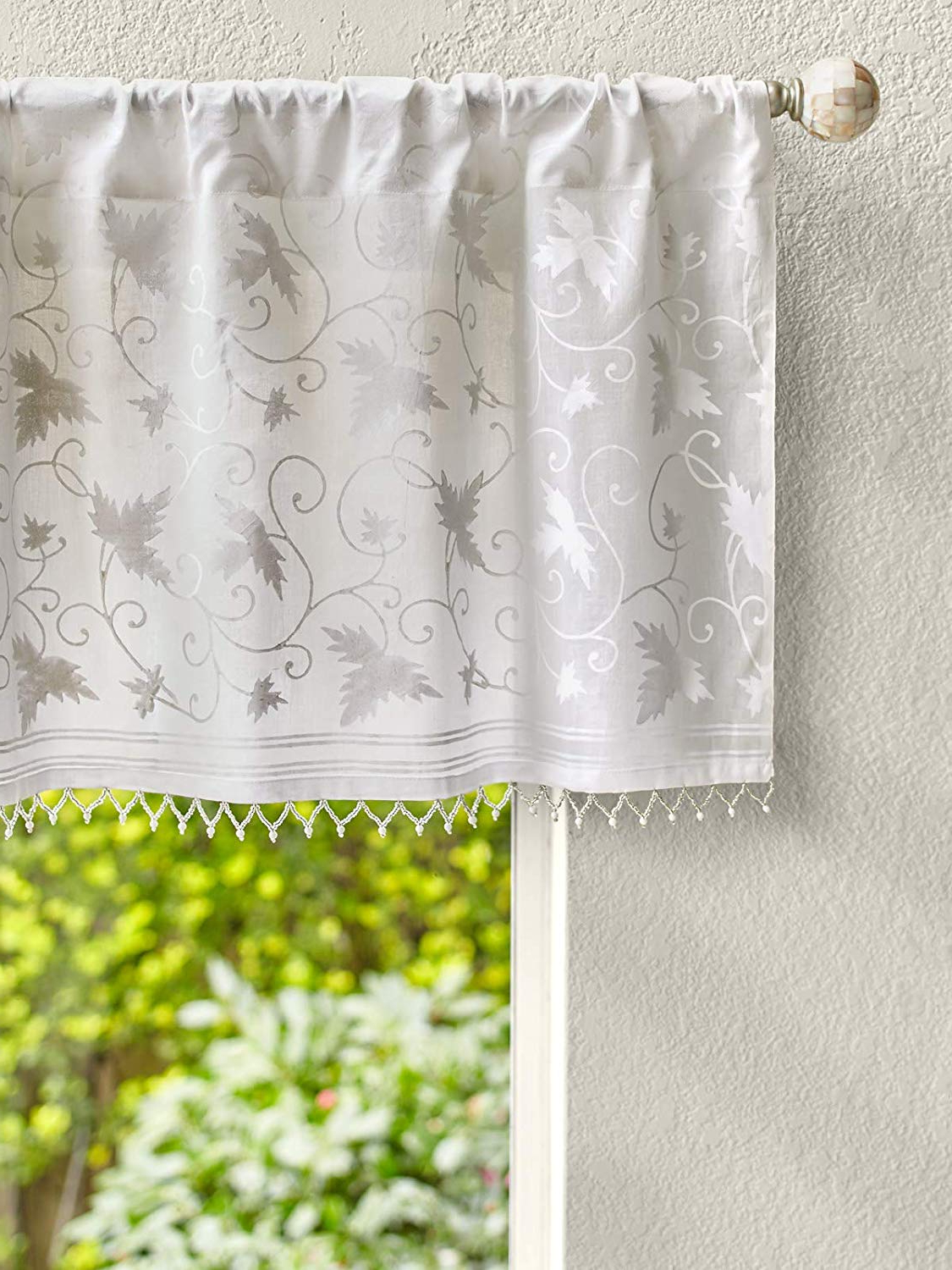 Favorite Saffron Marigold – Ivy Lace – White On White Country Cottage Floral Hand  Printed – Beaded Sheer Cotton Voile Window Valance Curtain – Rod Pocket – Regarding Cottage Ivy Curtain Tiers (View 15 of 20)