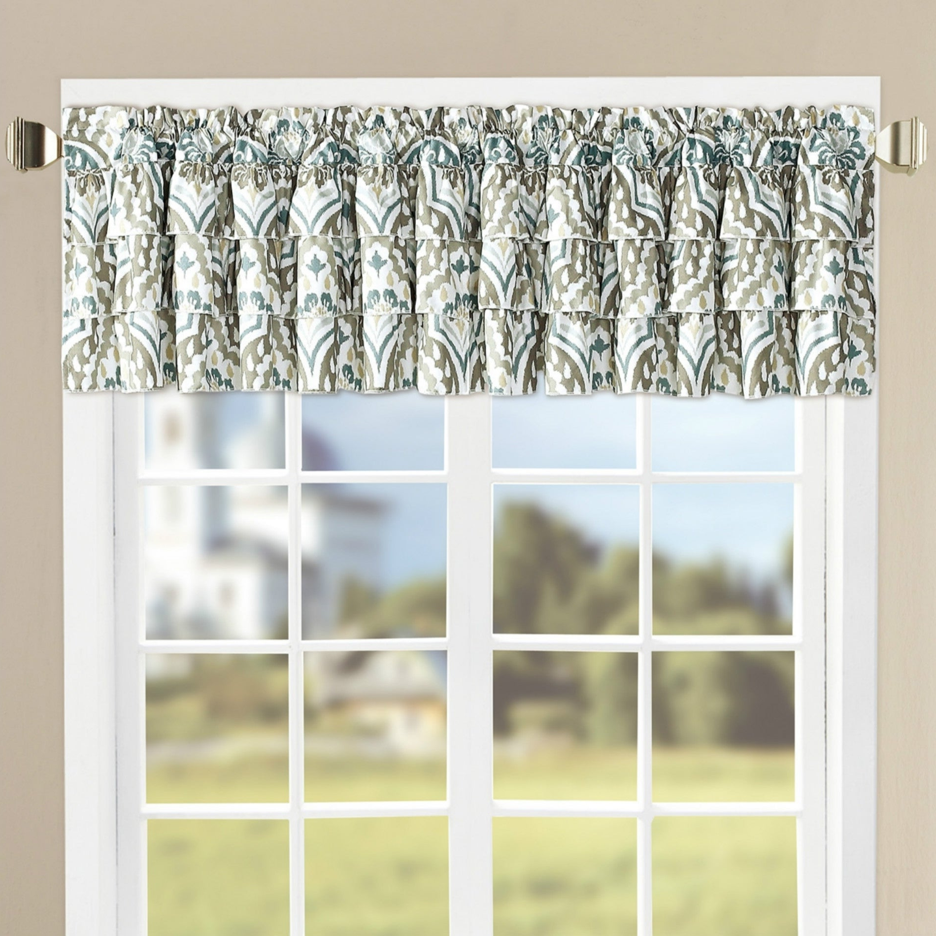 "Favorite Serenta Tivoli Ikat Microfiber Valance Set – 52"" X 20"" Inside Geometric Print Microfiber 3 Piece Kitchen Curtain Valance And Tiers Sets (View 12 of 20)"