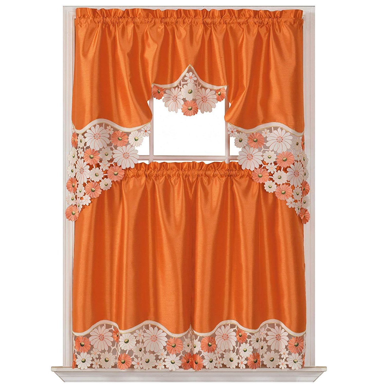 Favorite Spring Daisy Tiered Curtain 3 Piece Sets In Gohd Golden Ocean Home Decor Spring Vigor Kitchen Cafe Curtain Set Swag  Valance And Tier Set. Nice Matching Color Daisy Embroidery On Border With (Gallery 5 of 20)