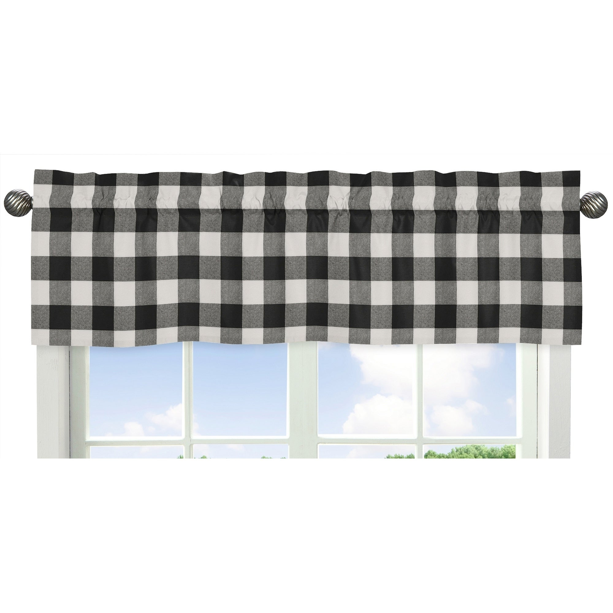 Favorite Sweet Jojo Designs Black And White Rustic Woodland Flannel Buffalo Plaid Check Collection Window Curtain Valance Intended For Grandin Curtain Valances In Black (View 6 of 20)