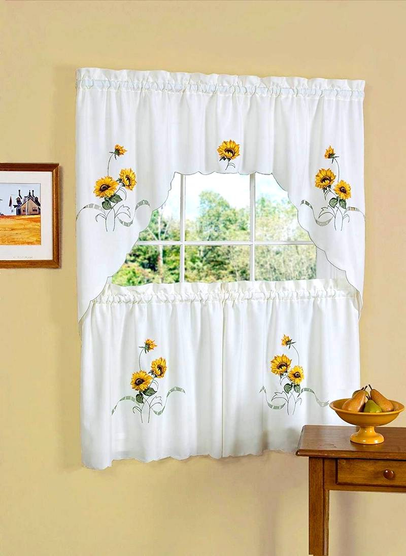 Favorite Traditional Tailored Window Curtains With Embroidered Yellow Sunflowers Intended For Fascinating Beautiful Kitchen Curtains Alluring Decorating (View 7 of 20)