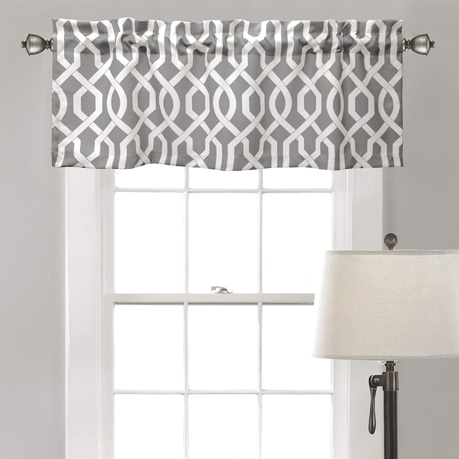 "Favorite Trellis Pattern Window Valances Within Diana Linen Edward Trellis Valance Patterned Window Curtain 18"" X 52"" (gray) (View 9 of 20)"