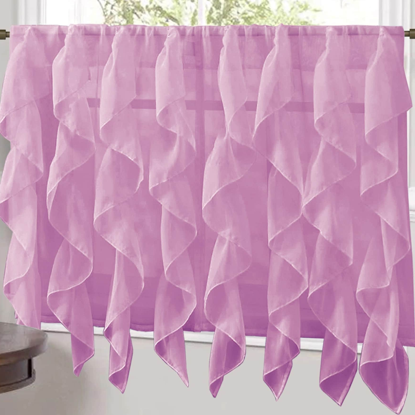 "Favorite Vertical Ruffled Waterfall Valance And Curtain Tiers Throughout Sweet Home Collection Lavender Vertical Ruffled Waterfall Valance And  Curtain Tiers 24"" Tier Pair (Gallery 13 of 20)"