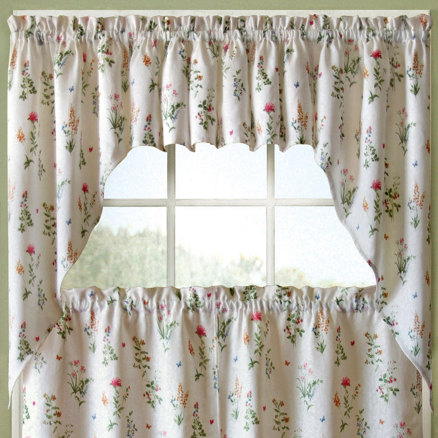 Favorite Vibrant Floral Garden Motif Jacquard Window Curtain Pieces Pertaining To Floral Lace Rod Pocket Kitchen Curtain Valance And Tiers Sets (Gallery 15 of 20)