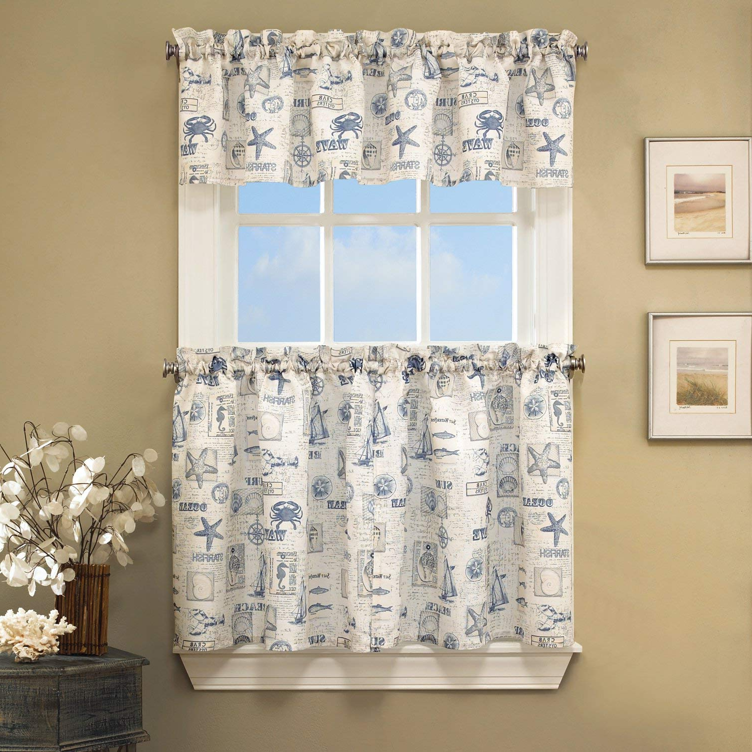 Favorite Vintage Sea Shore All Over Printed Window Curtains With Regard To Amazon: Bed Bath N More Vintage Sea Shore All Over (Gallery 2 of 20)