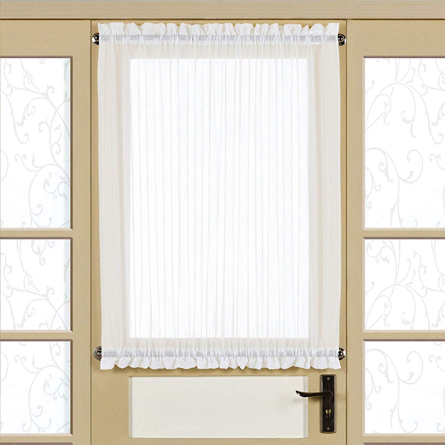Favorite White Tone On Tone Raised Microcheck Semisheer Window Curtain Pieces Throughout Amazon: Bed Bath N More Semi Sheer 40 Inch Tailored Door (View 9 of 20)