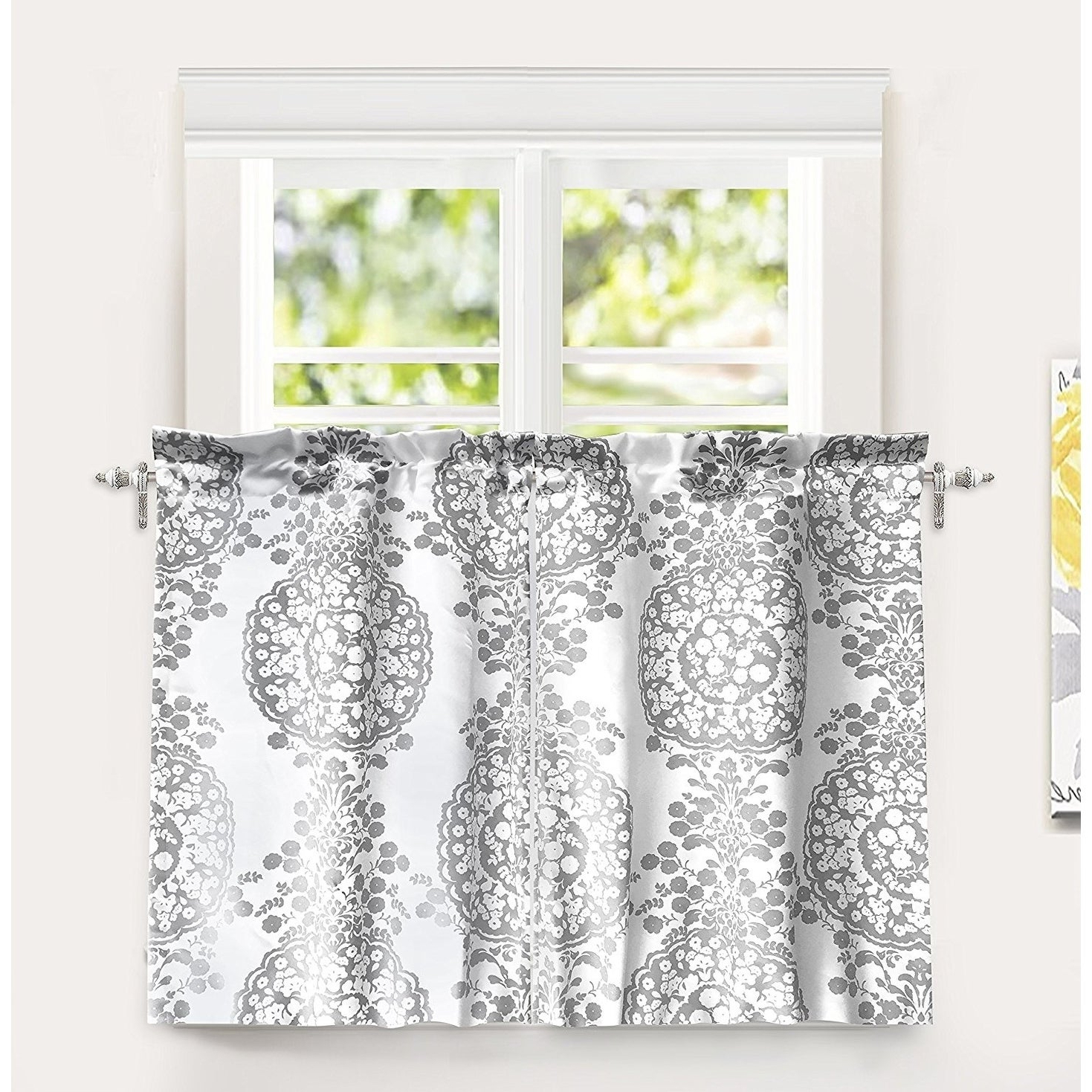 "Floral Blossom Ink Painting Thermal Room Darkening Kitchen Tier Pairs Inside Preferred Driftaway Samantha Pastel Damask Printed Room Darkening Kitchen Tier Pair – 30"" Width X 36 "" Length (View 18 of 20)"