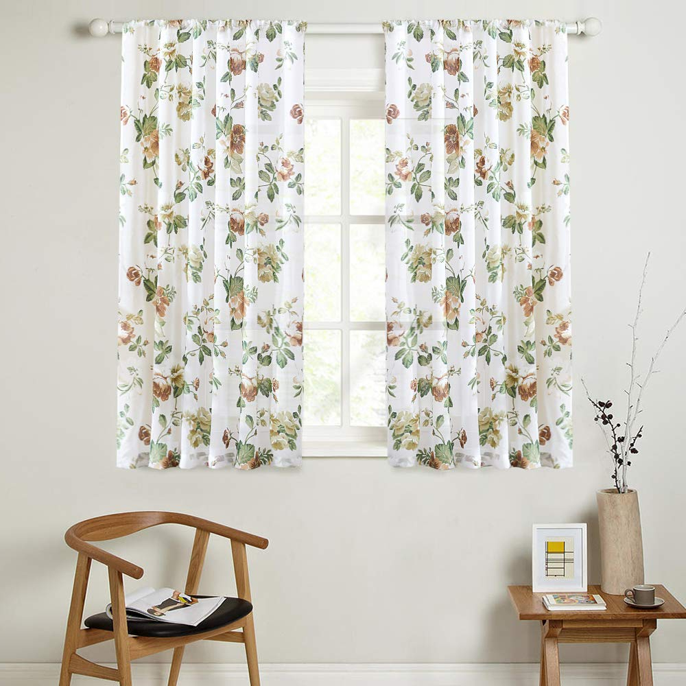Floral Blossom Ink Painting Thermal Room Darkening Kitchen Tier Pairs Regarding Popular Mrtrees Kitchen Tier Curtains Brown Floral Print Short Curtain Flower Leaf Printed Tiers 45 Inches Long Panels Cotton Blend Voile Cafe Bathroom Rod (View 19 of 20)