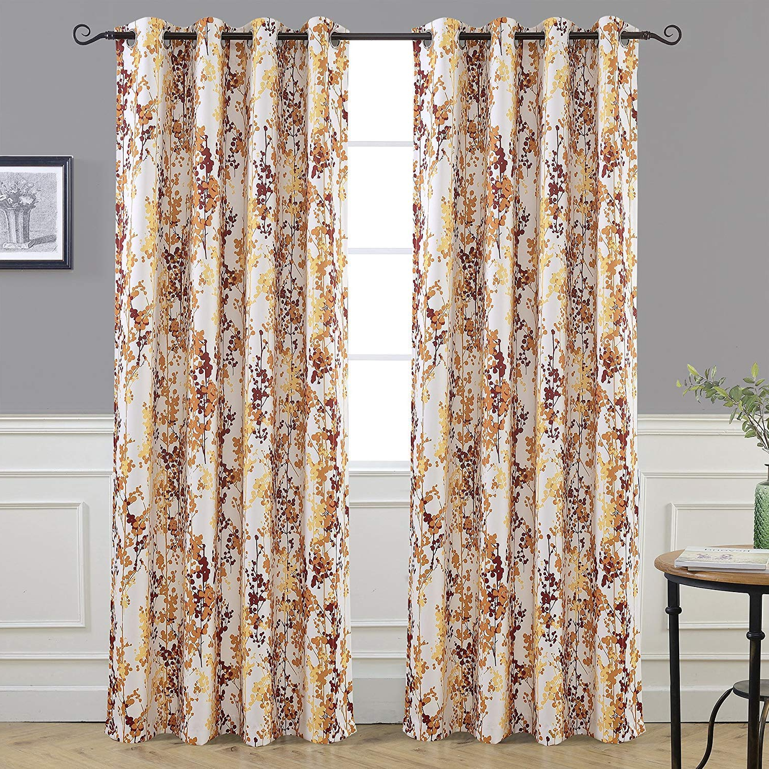 Floral Blossom Ink Painting Thermal Room Darkening Kitchen Tier Pairs With Regard To Well Liked Driftaway Leah Abstract Floral Blossom Ink Painting Room Darkening Thermal Insulated Grommet Unlined Window Curtains 2 Panels Each Size 52 Inch (View 6 of 20)