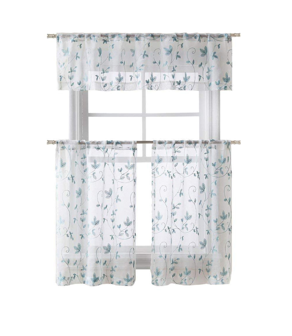 Floral Embroidered Sheer Kitchen Curtain Tiers, Swags And Valances Throughout Trendy Goodgram Cassandra Floral Embroidered Semi Sheer Kitchen Curtain Tier & Valance Set – Assorted Colors (aqua/blue) (View 6 of 20)