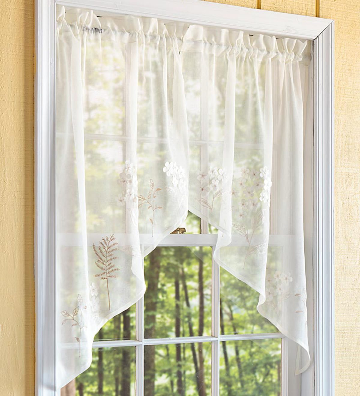 Floral Embroidered Sheer Kitchen Curtain Tiers, Swags And Valances With Favorite Embroidered Hydrangea Sheer Curtain Panels, Tiers, Valances And Swag (View 20 of 20)