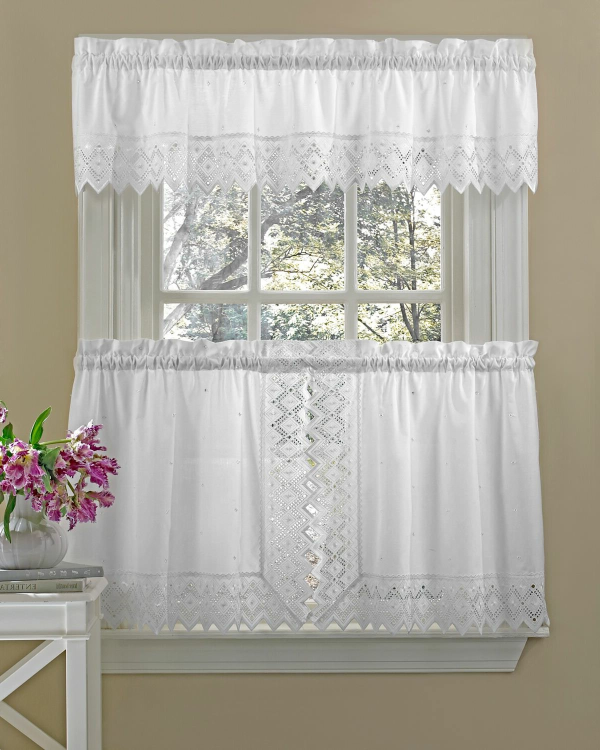 "Floral Embroidered Sheer Kitchen Curtain Tiers, Swags And Valances With Favorite Housley Ornate Elegance Poly Cotton Embroidered Tailored Swag 70"" Kitchen Curtain (View 12 of 20)"