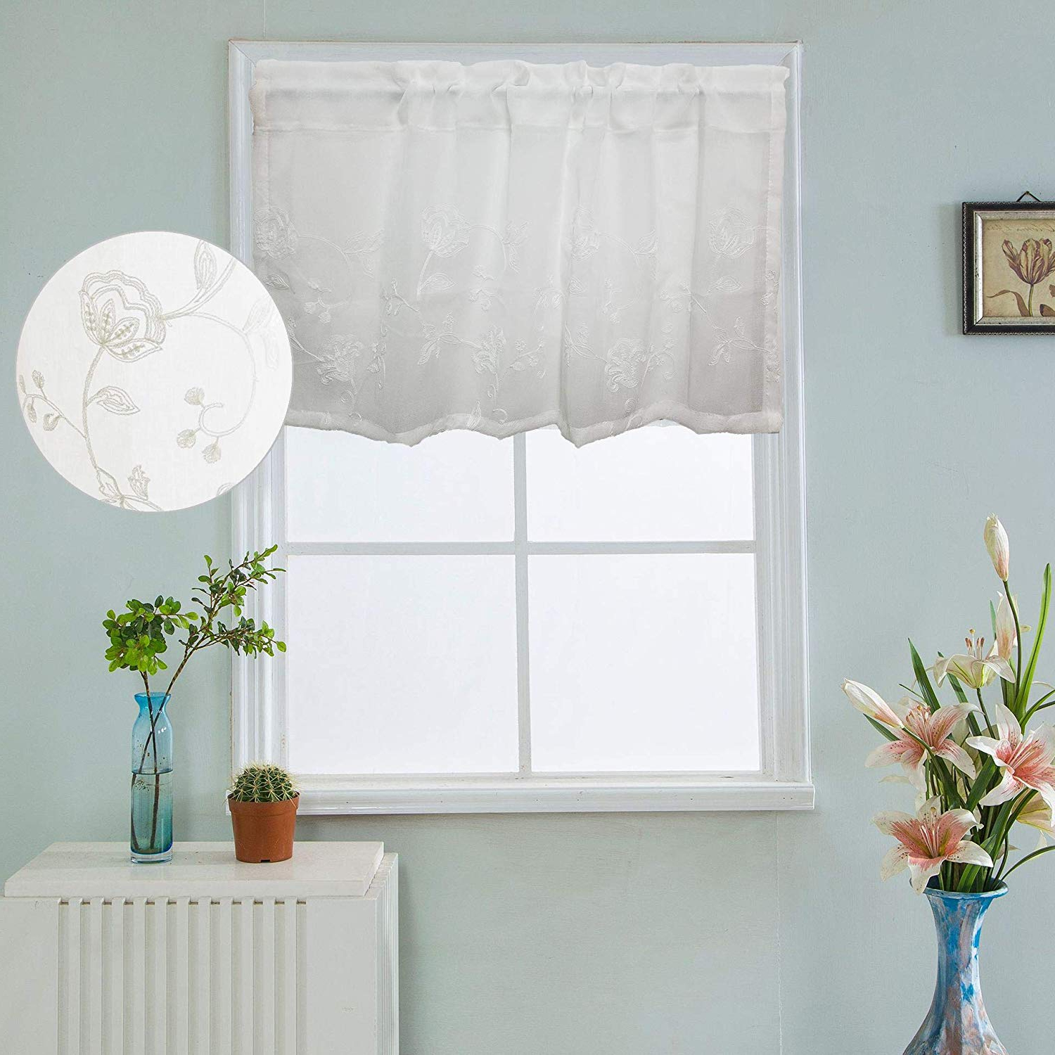 Floral Lace Rod Pocket Kitchen Curtain Valance And Tiers Sets Intended For Preferred Winyy White Floral Sheer Curtain Rod Pocket Top Window Drape Short Curtain Valance For Kitchen Window 1 Piece (39 Inch Wide, 20 Inch Long) (View 2 of 20)