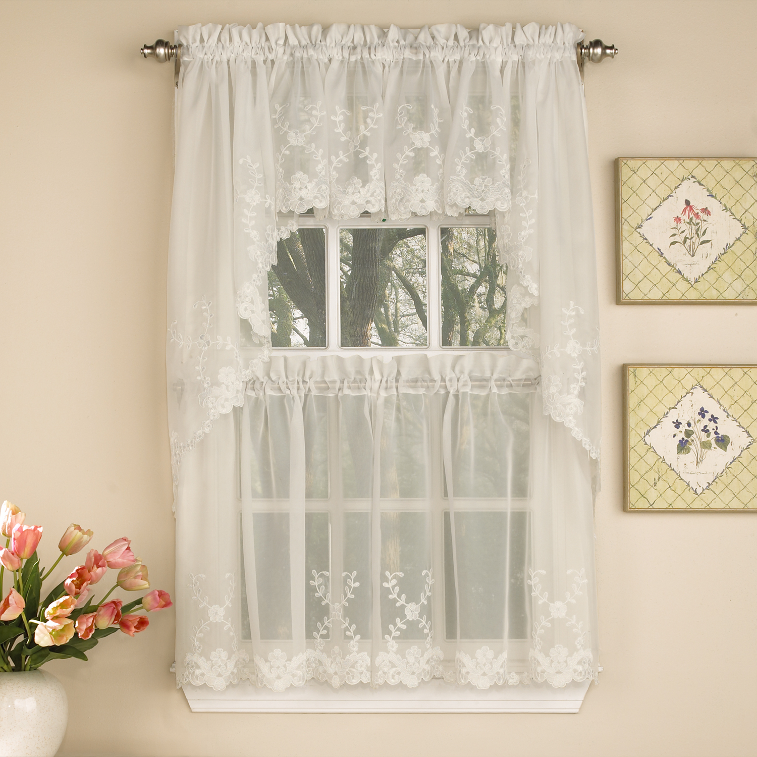 Floral Lace Rod Pocket Kitchen Curtain Valance And Tiers Sets Pertaining To Newest Details About Laurel Leaf Sheer Voile Embroidered Ivory Kitchen Curtains Tier, Valance Or Swag (View 12 of 20)