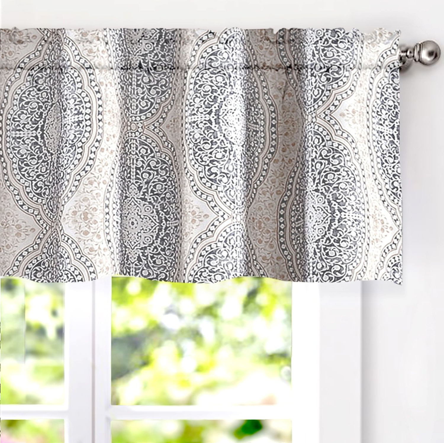 Floral Pattern Window Valances Inside Current Driftaway Adrianne Damask And Floral Pattern Window Curtain Valance 52 Inch 18 Inch Beige And Gray (View 10 of 20)