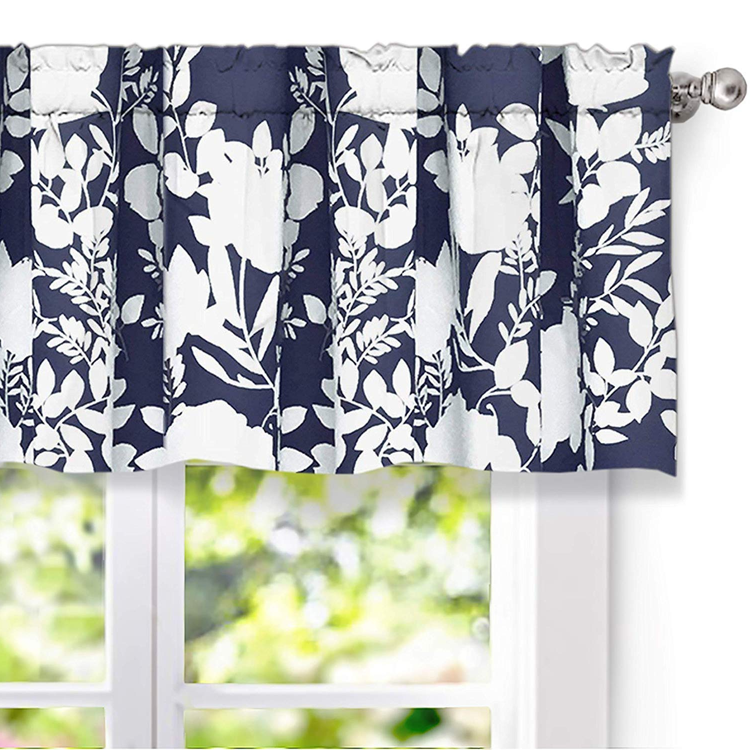 Floral Pattern Window Valances Regarding Favorite Driftaway Floral Delight Botanic Pattern Window Curtain Valance 52 Inch 18 Inch Plus 2 Inch Header Navy (View 3 of 20)