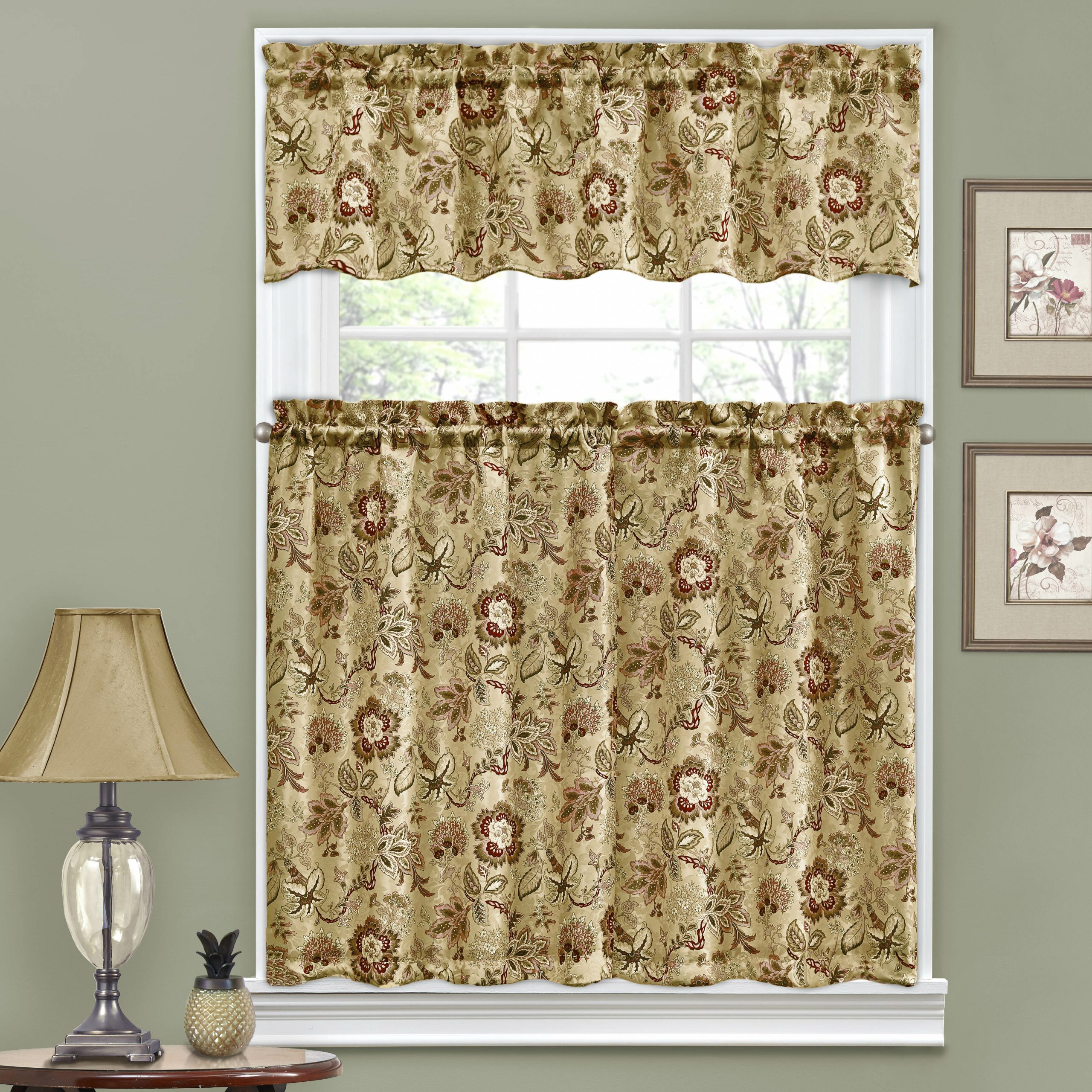 """Floral Watercolor Semi Sheer Rod Pocket Kitchen Curtain Valance And Tiers Sets With 2020 Navarra Floral 52"""" Valance And Tier Set (View 11 of 20)"""