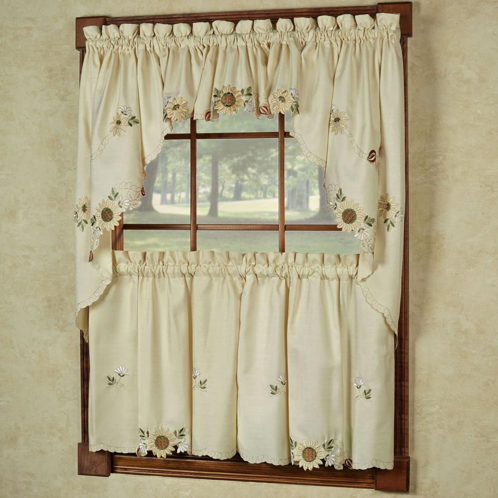 Fluttering Butterfly White Embroidered Tier, Swag, Or Valance Kitchen Curtains Pertaining To Favorite Burrigan Curtain Tier, Valance And Swag Set In (View 17 of 20)
