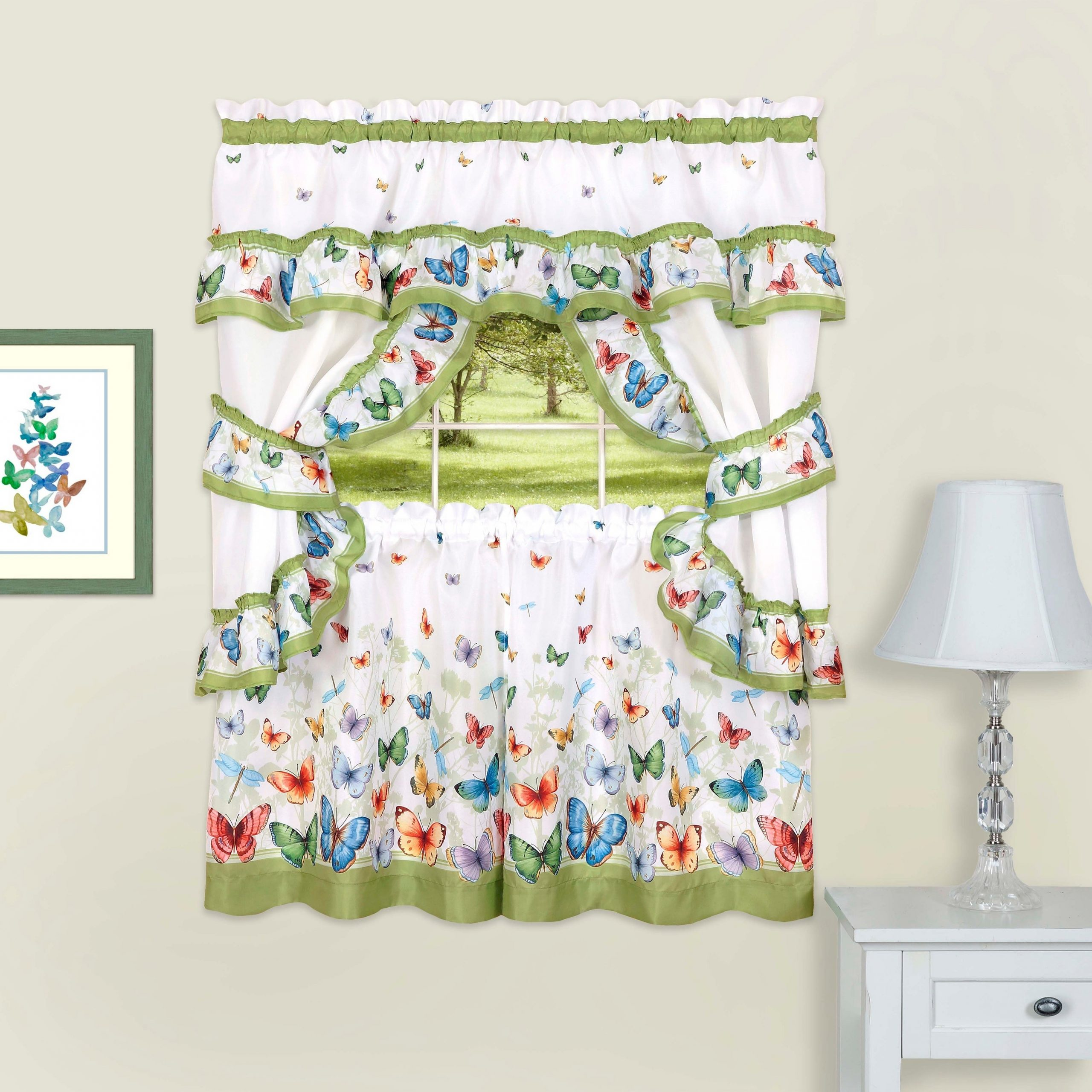 Fluttering Butterfly White Embroidered Tier, Swag, Or Valance Kitchen Curtains Pertaining To Well Known Butterflies Printed Cottage Window Curtain Set (View 8 of 20)