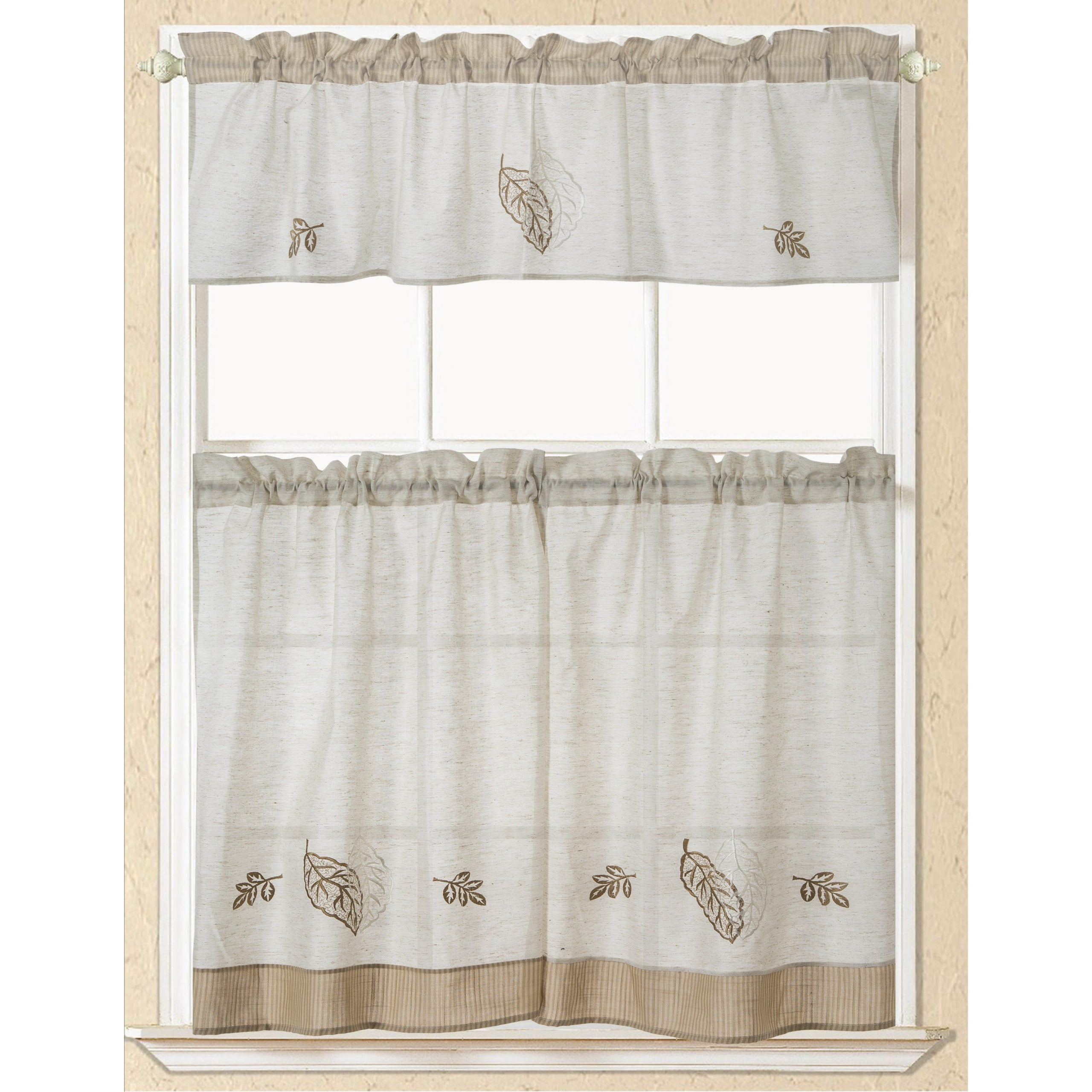 Forest Valance And Tier Pair Curtains In Well Known Rt Designers Collection Rustic Embroidered Leaf Tier And Valance Kitchen Curtain Set (View 14 of 20)