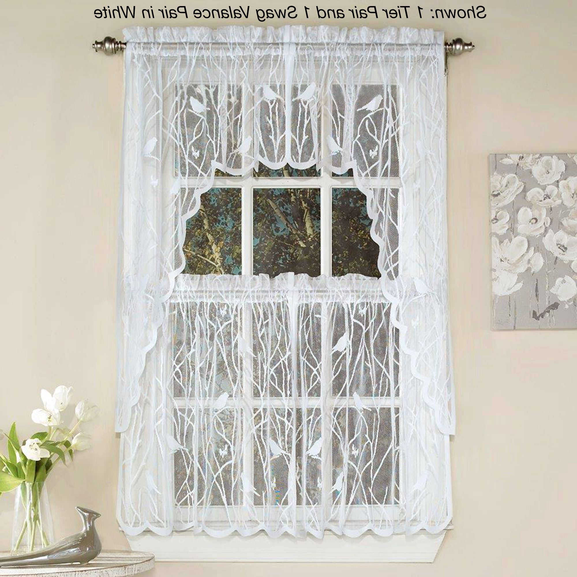 Forest Valance And Tier Pair Curtains Pertaining To Current Troubadour Birds Lace Tier Window Treatment (View 20 of 20)