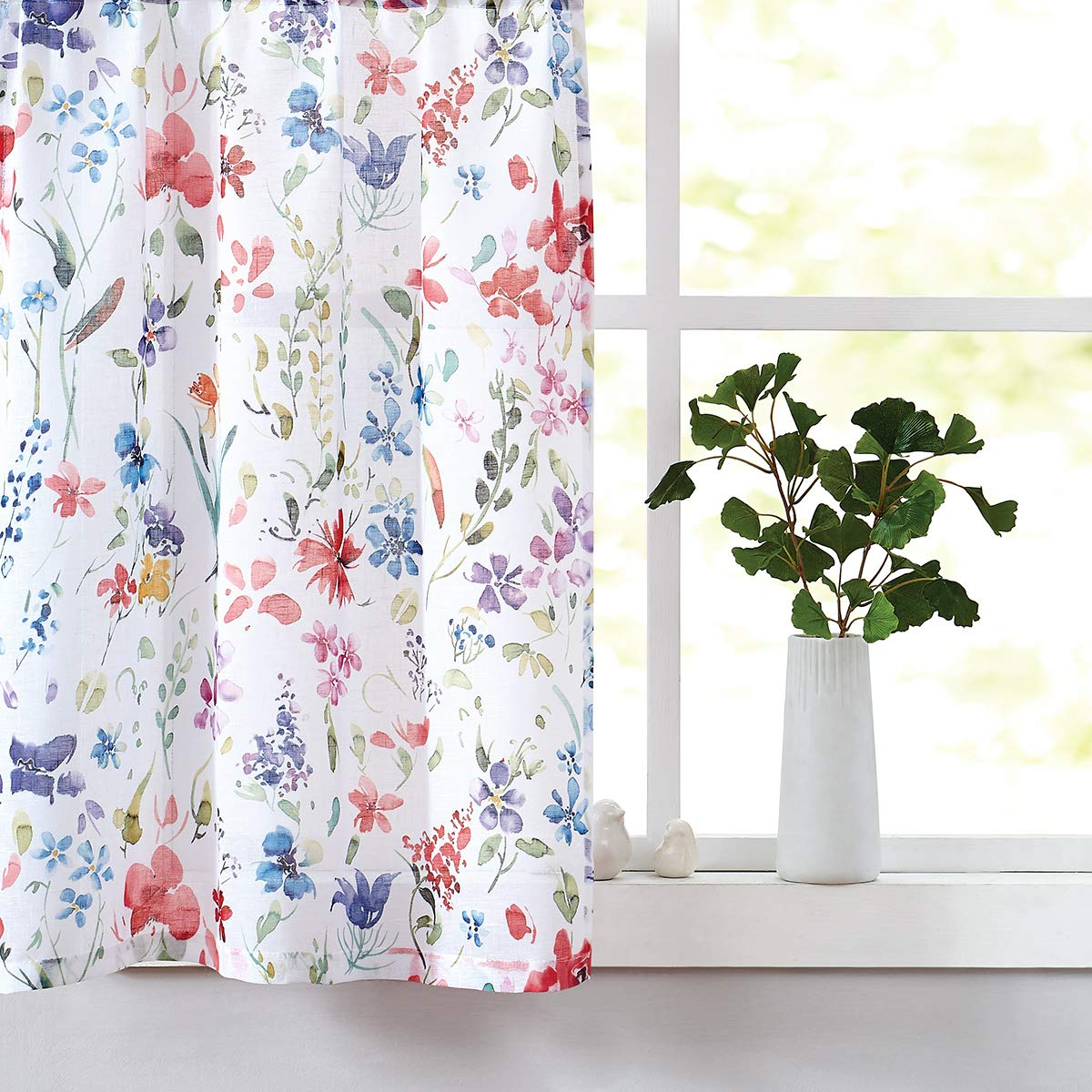 """Fragrantex Floral Print Kitchen Curtains 24"""" Multi Color Sheer Tier Curtain  Set For Windows Linen Cotton Like Curtain Panels For Laundry Room Tiers With Recent Floral Watercolor Semi Sheer Rod Pocket Kitchen Curtain Valance And Tiers Sets (View 9 of 20)"""