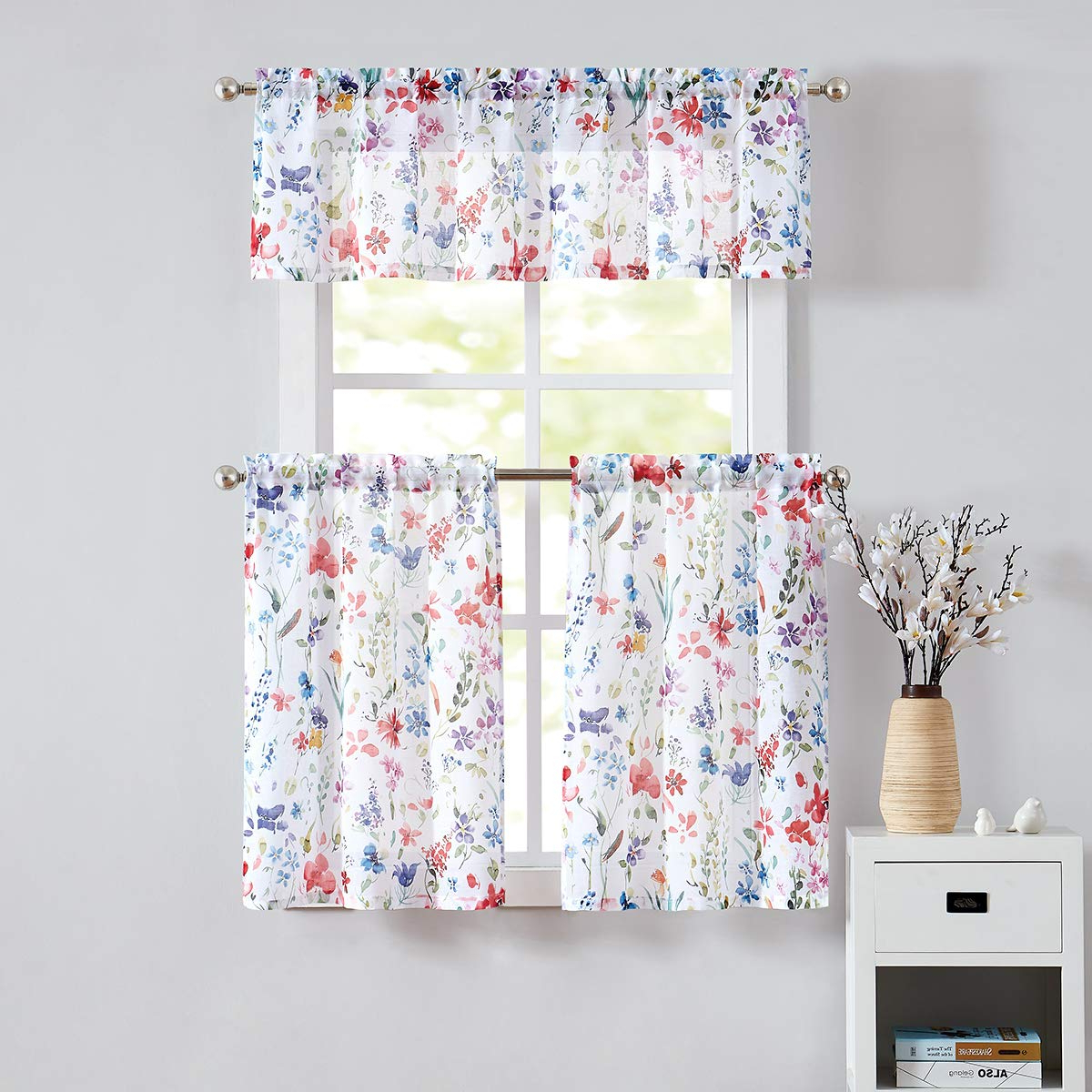 "Fragrantex Floral Print Kitchen Curtains 24"" Multi Color Sheer Tier Curtain  Set For Windows Linen Cotton Like Curtain Panels For Laundry Room Tiers With Regard To Well Liked Floral Watercolor Semi Sheer Rod Pocket Kitchen Curtain Valance And Tiers Sets (Gallery 1 of 20)"