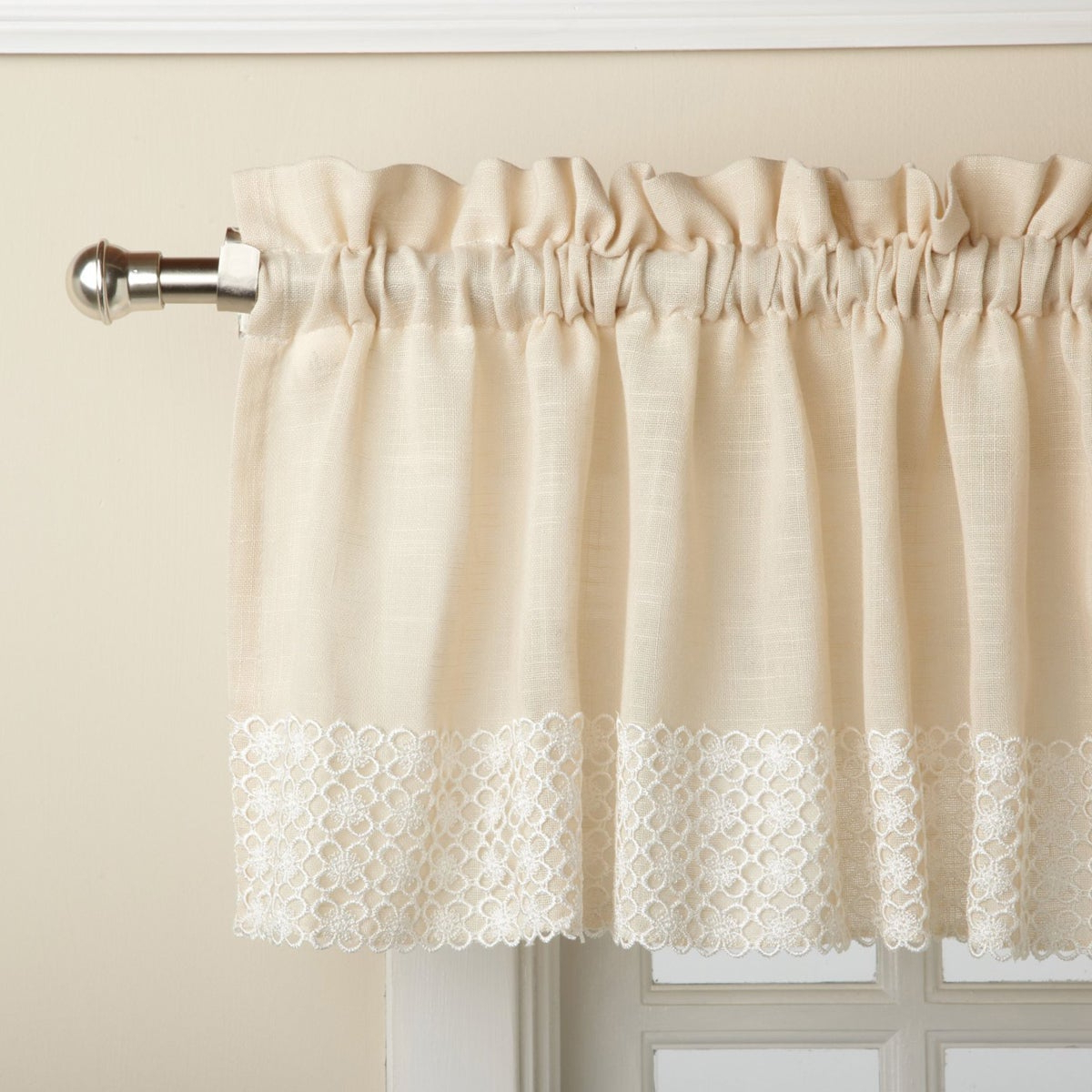 French Vanilla Country Style Curtain Parts With White Daisy Lace Accent Inside Well Liked French Vanilla Country Style Curtain Parts With White Daisy Lace Accent Tier, Swag And Valance Options (View 3 of 20)