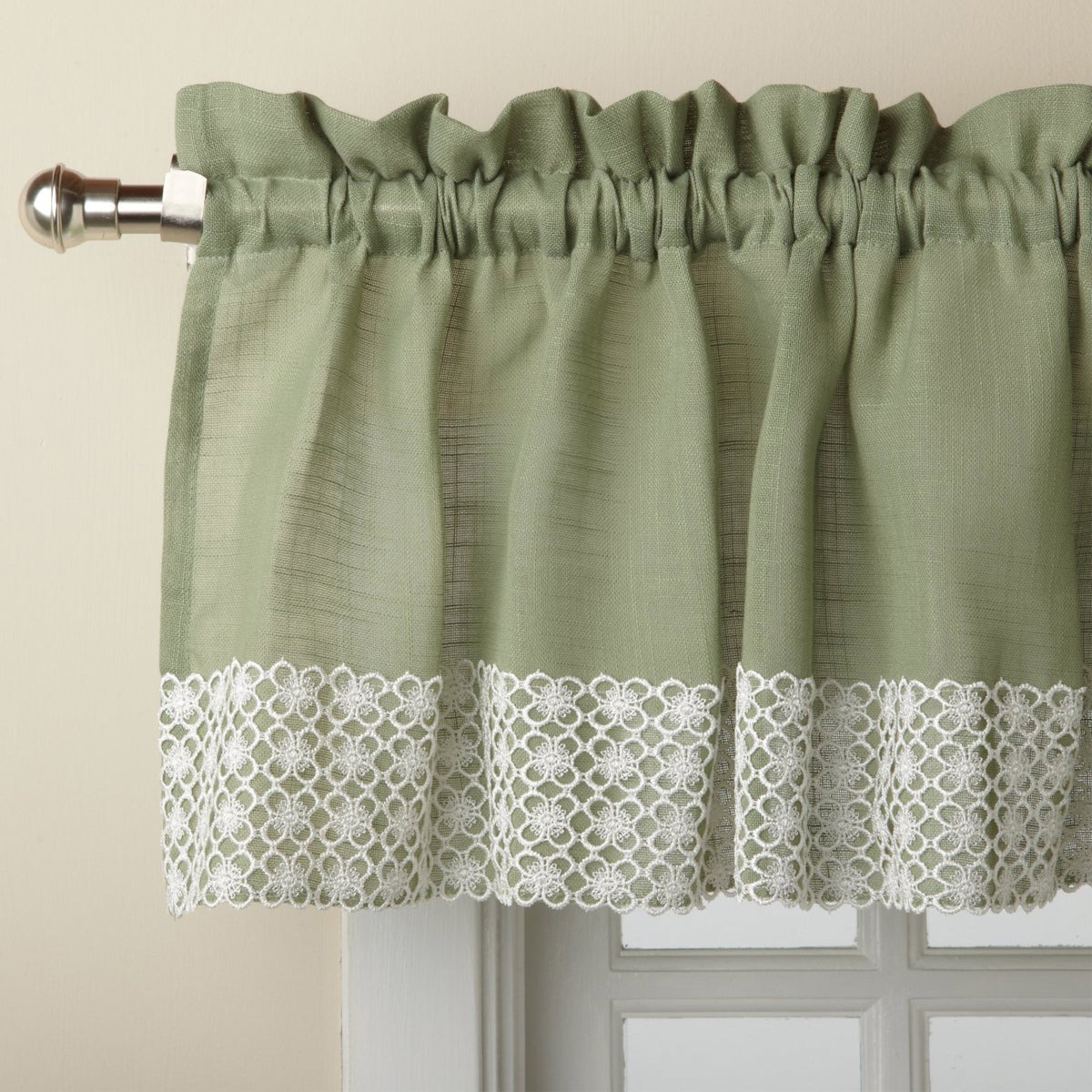 French Vanilla Country Style Curtain Parts With White Daisy Lace Accent Intended For Famous Sage Country Style Curtain Parts With White Daisy Lace Accent  (Separates Tiers, Swags And Valances) (View 7 of 20)