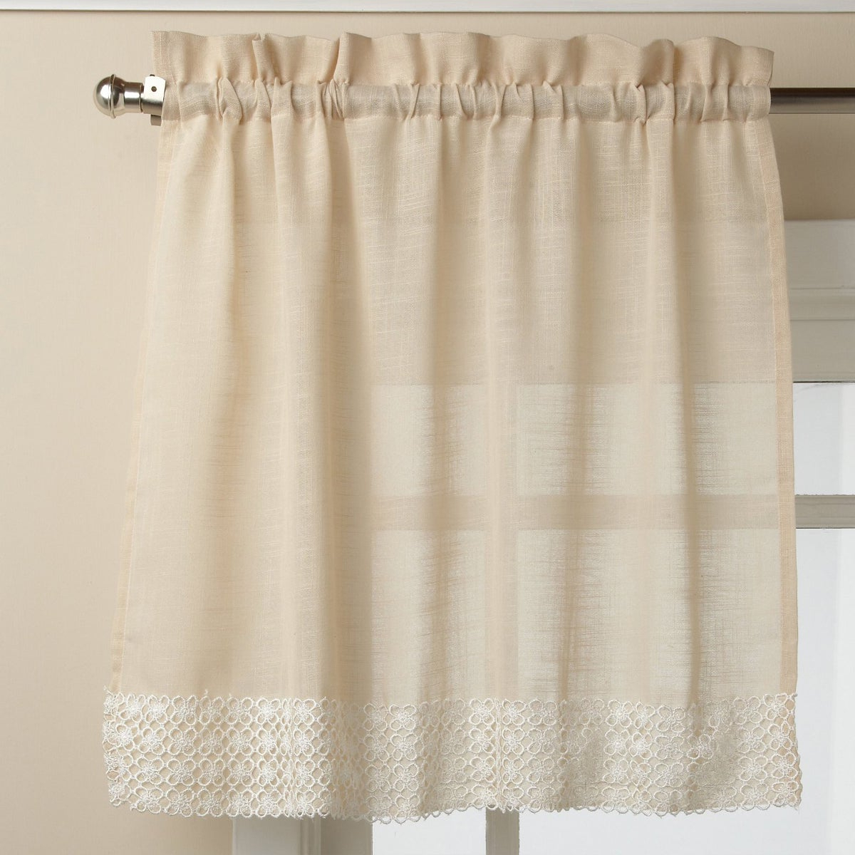French Vanilla Country Style Curtain Parts With White Daisy Lace Accent Tier, Swag And Valance Options Inside Popular French Vanilla Country Style Curtain Parts With White Daisy Lace Accent (View 2 of 20)