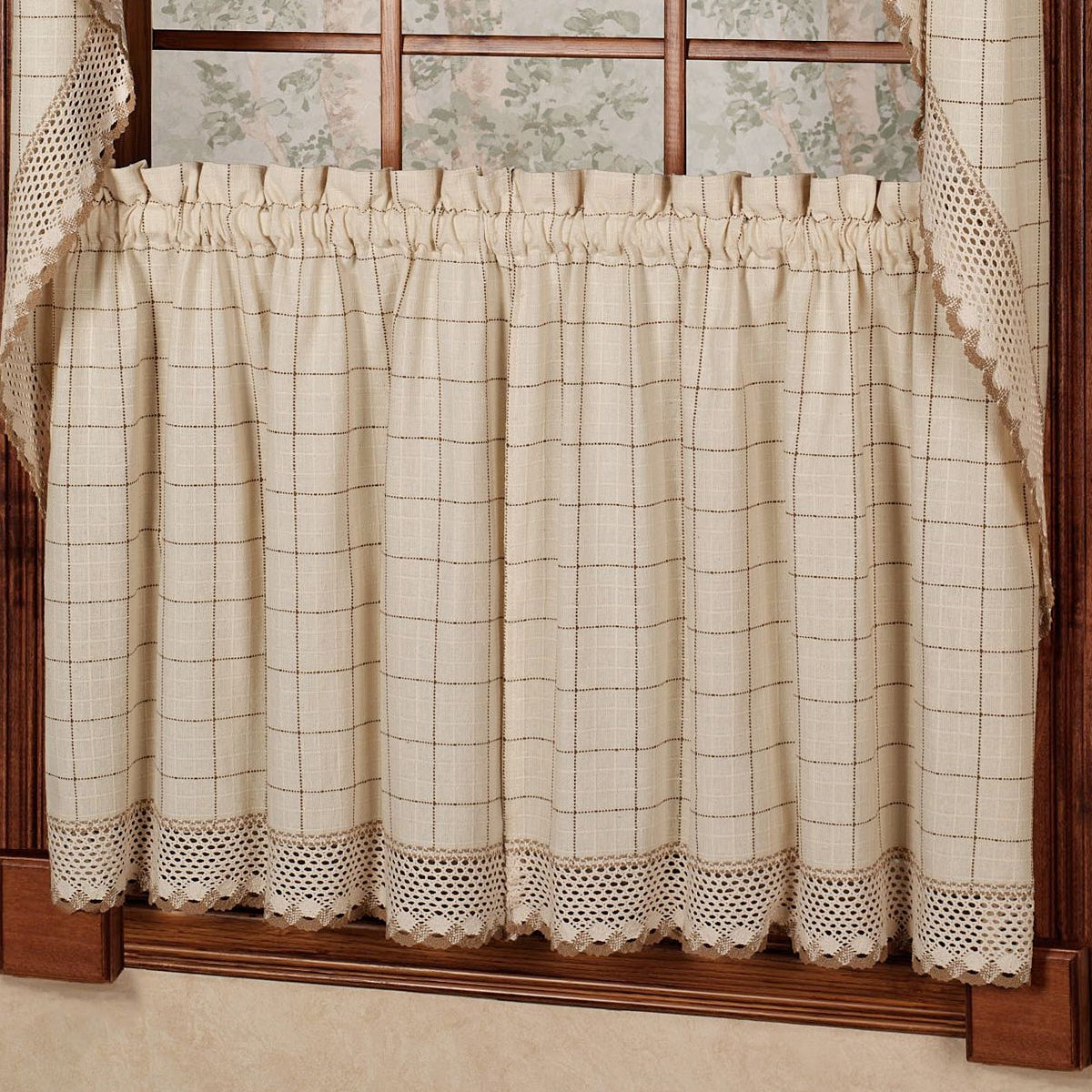 French Vanilla Country Style Curtain Parts With White Daisy Lace Accent With Regard To Newest Cotton Classic Toast Window Pane Pattern And Crotchet Trim Tiers, Swags And Valance Options (View 15 of 20)