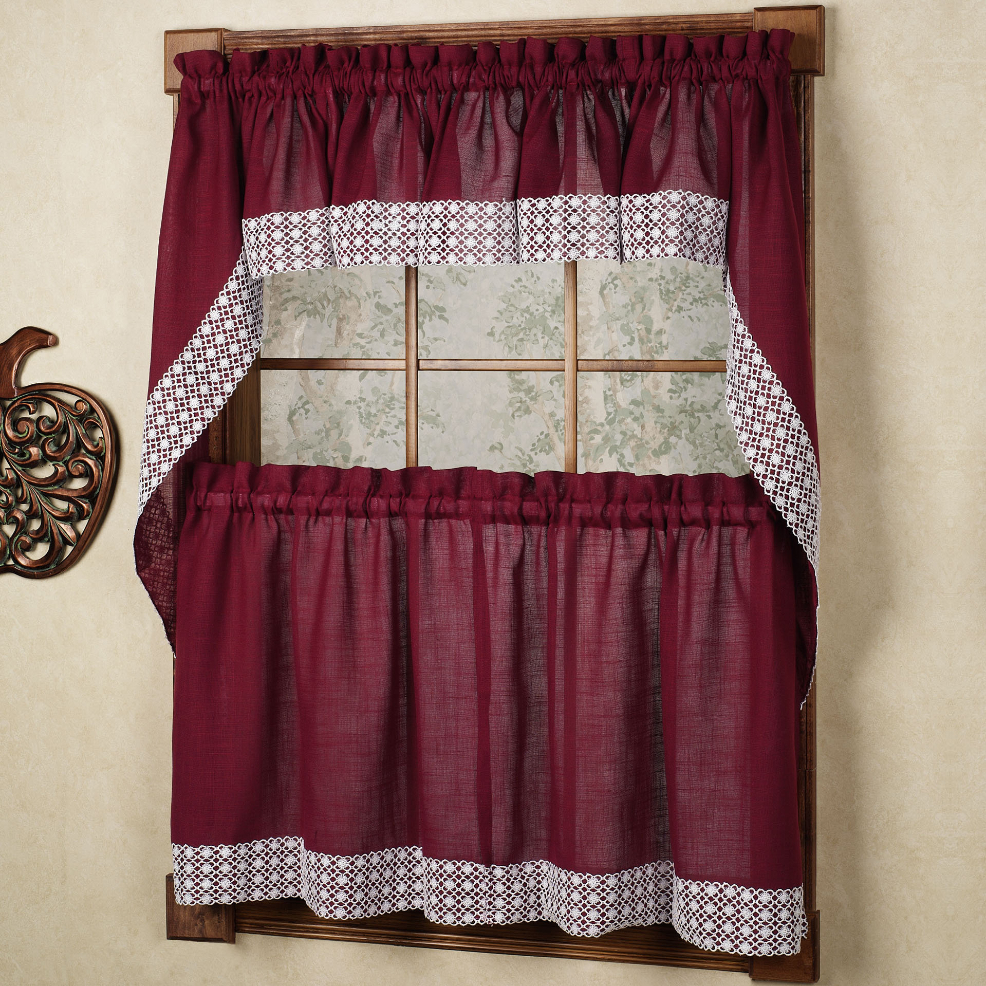 French Vanilla Country Style Curtain Parts With White Daisy Lace Accent Within Most Current Details About Salem Kitchen Curtain – Burgundy W/white Lace Trim – Lorraine  Home Fashions (View 10 of 20)