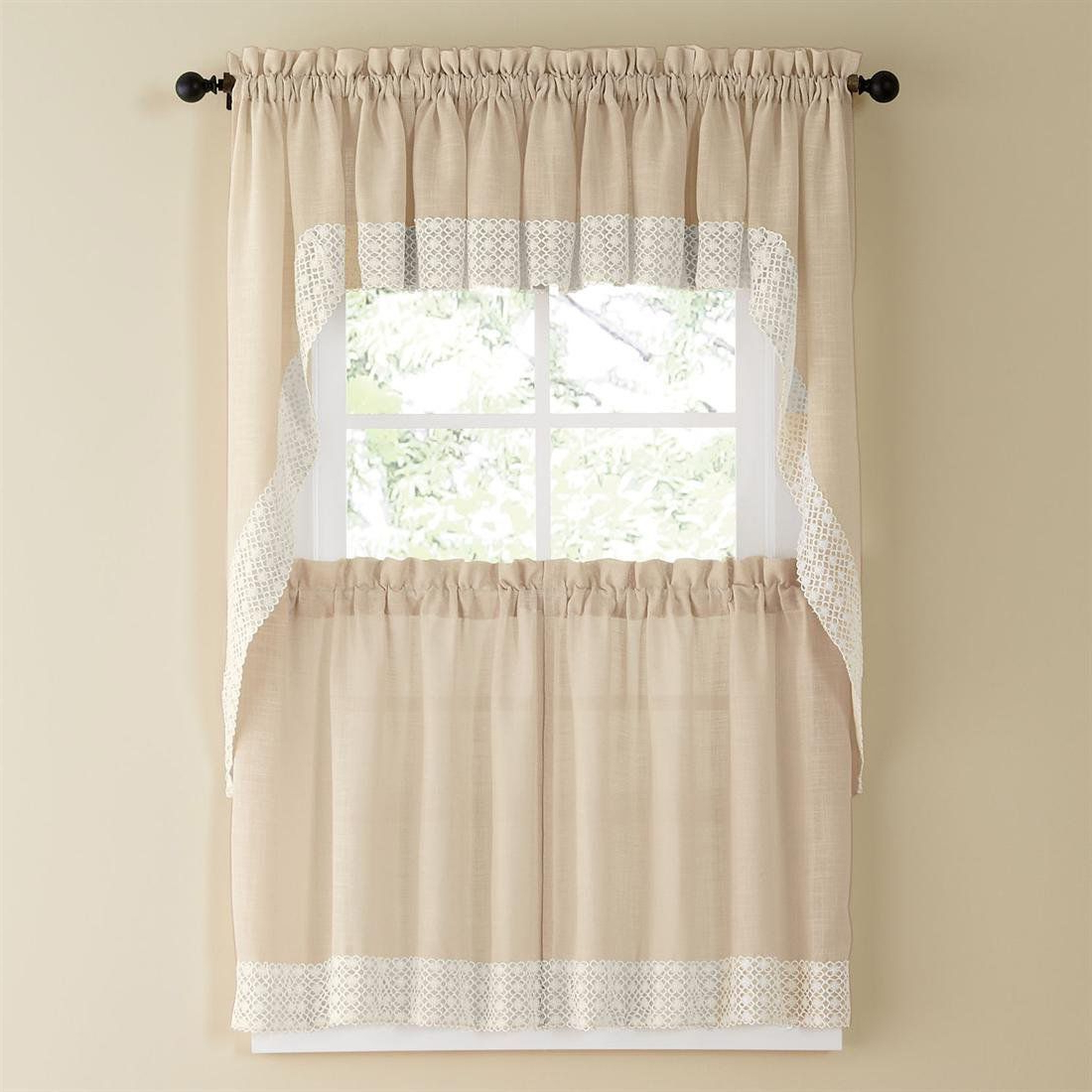 French Vanilla Country Style Curtain Parts With White Daisy Within Well Known Country Style Curtain Parts With White Daisy Lace Accent (Gallery 1 of 20)