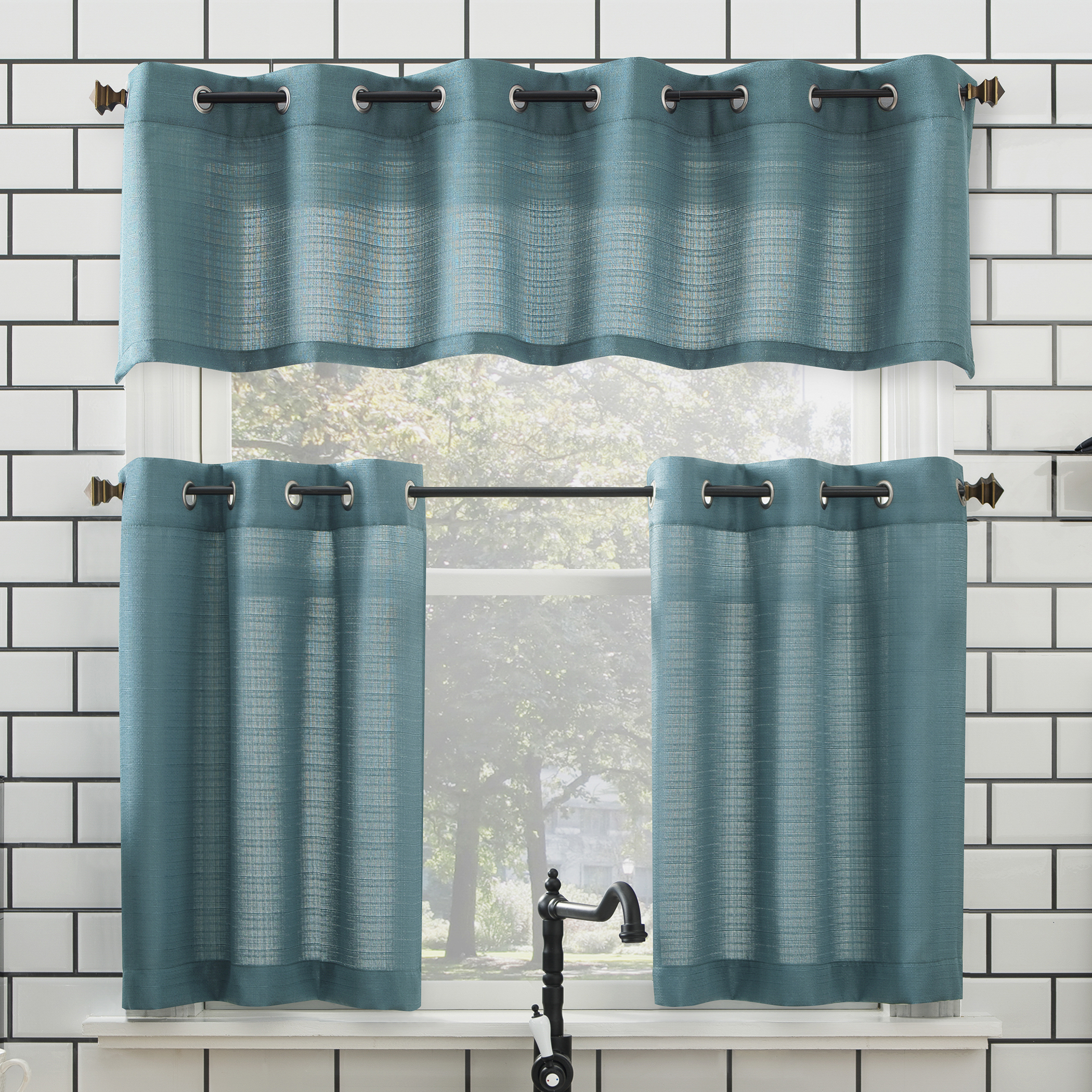 Geometric Print Microfiber 3 Piece Kitchen Curtain Valance And Tiers Sets For 2020 Mainstays Solid Grommet 3 Piece Kitchen Curtain Tier And Valance Set (View 13 of 20)