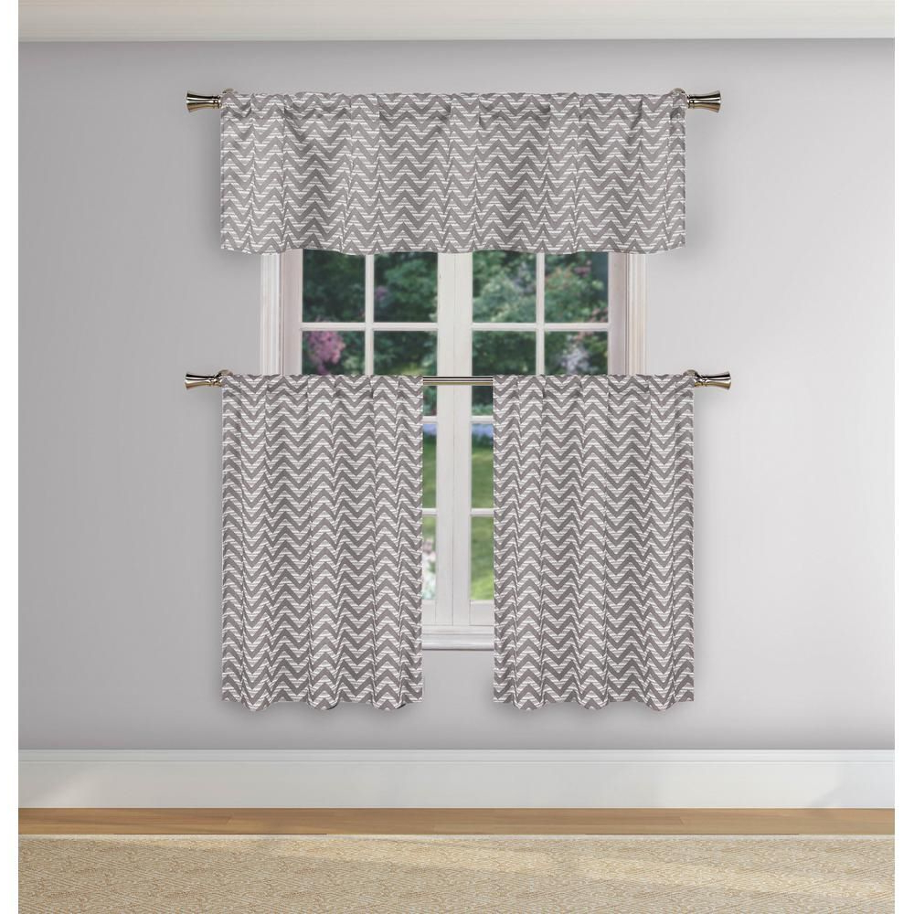 Geometric Print Microfiber 3 Piece Kitchen Curtain Valance And Tiers Sets In Best And Newest Duck River Ayeris Grey Room Darkening Kitchen Curtain Set (View 11 of 20)