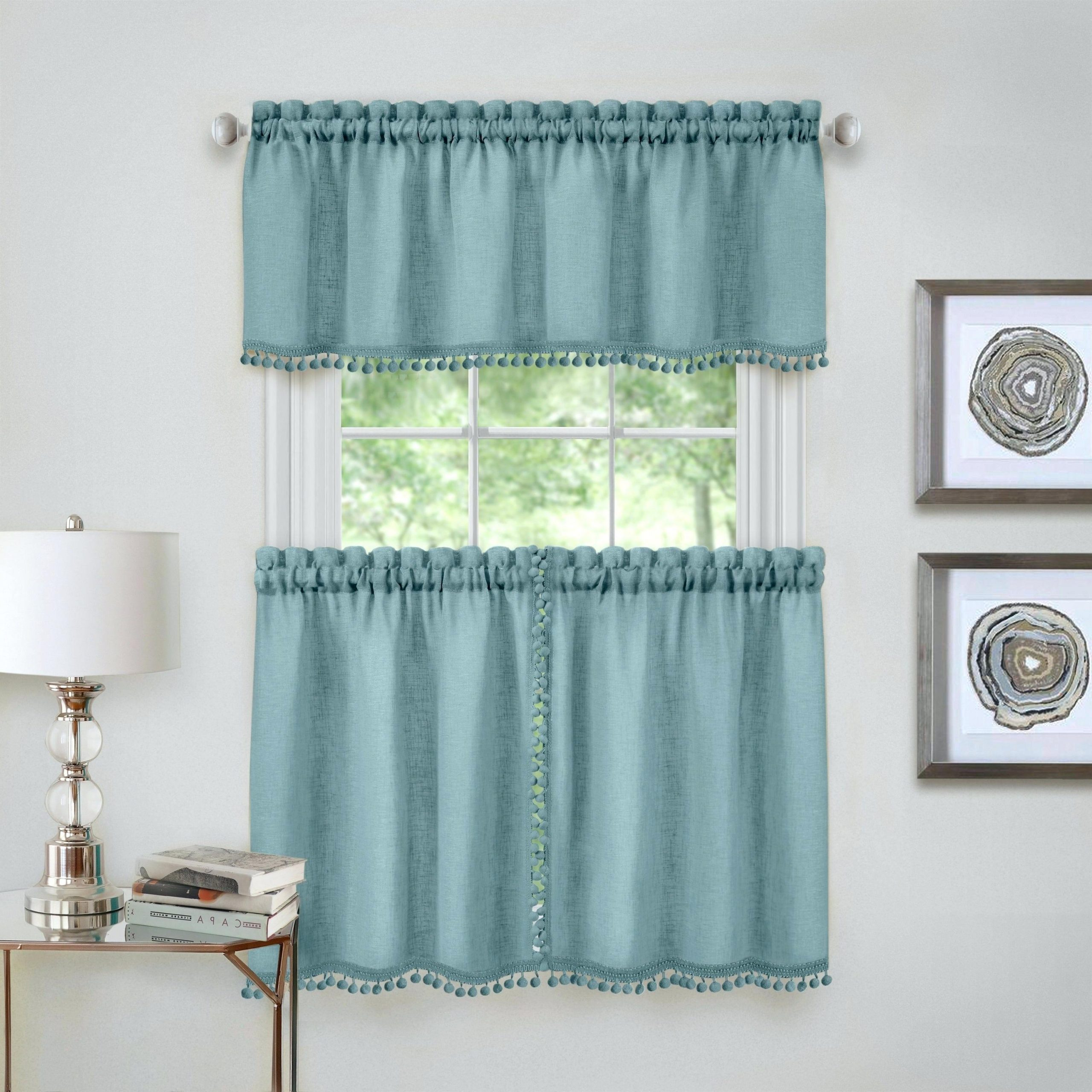 Geometric Print Microfiber 3 Piece Kitchen Curtain Valance And Tiers Sets In Most Recently Released Curtain Sets With Valance – Onsaturn (View 17 of 20)