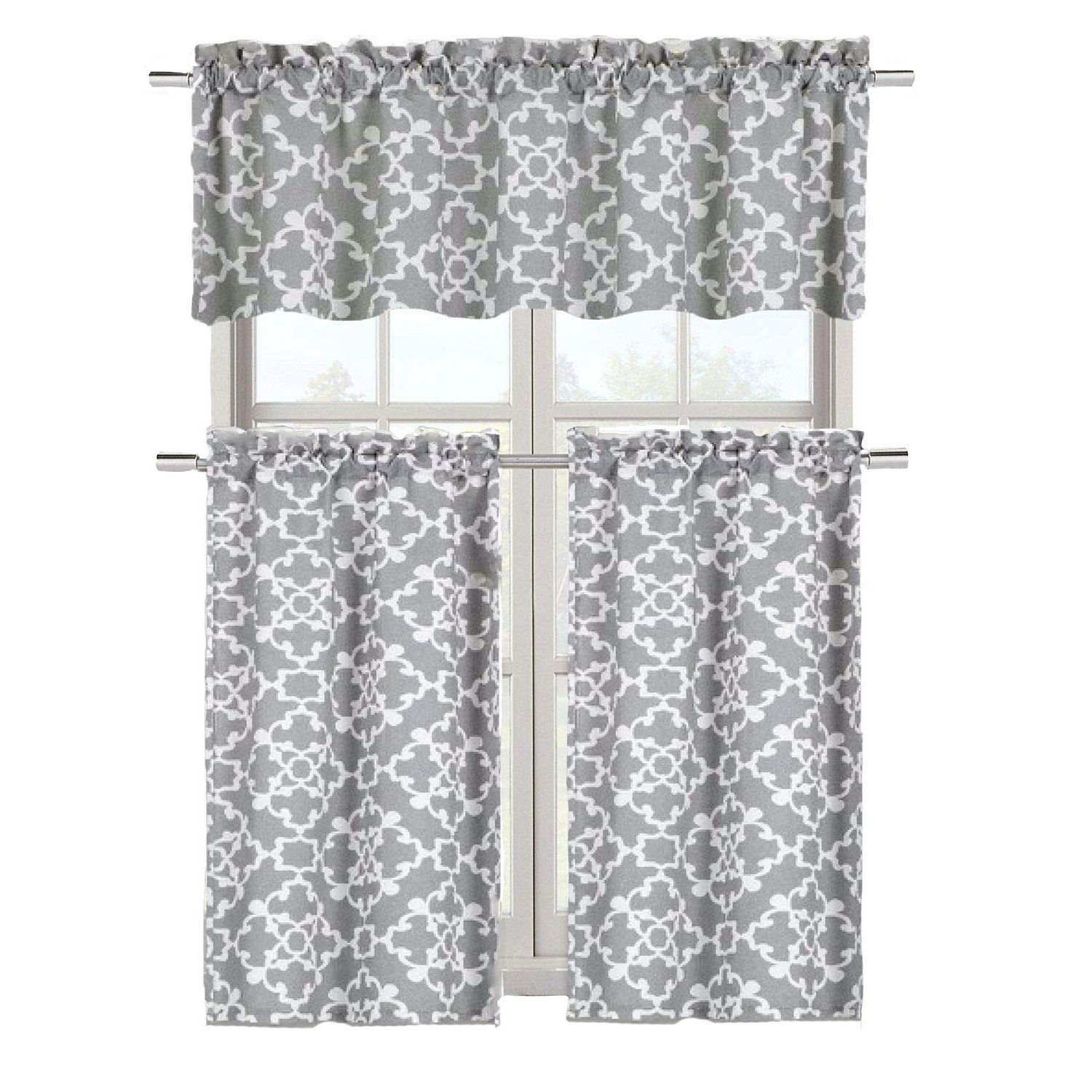 Geometric Print Microfiber 3 Piece Kitchen Curtain Valance And Tiers Sets Regarding Newest Goodgram Ultra Luxurious Grey Shabby 3 Piece Kitchen Curtain Tier & Valance Set By (View 5 of 20)