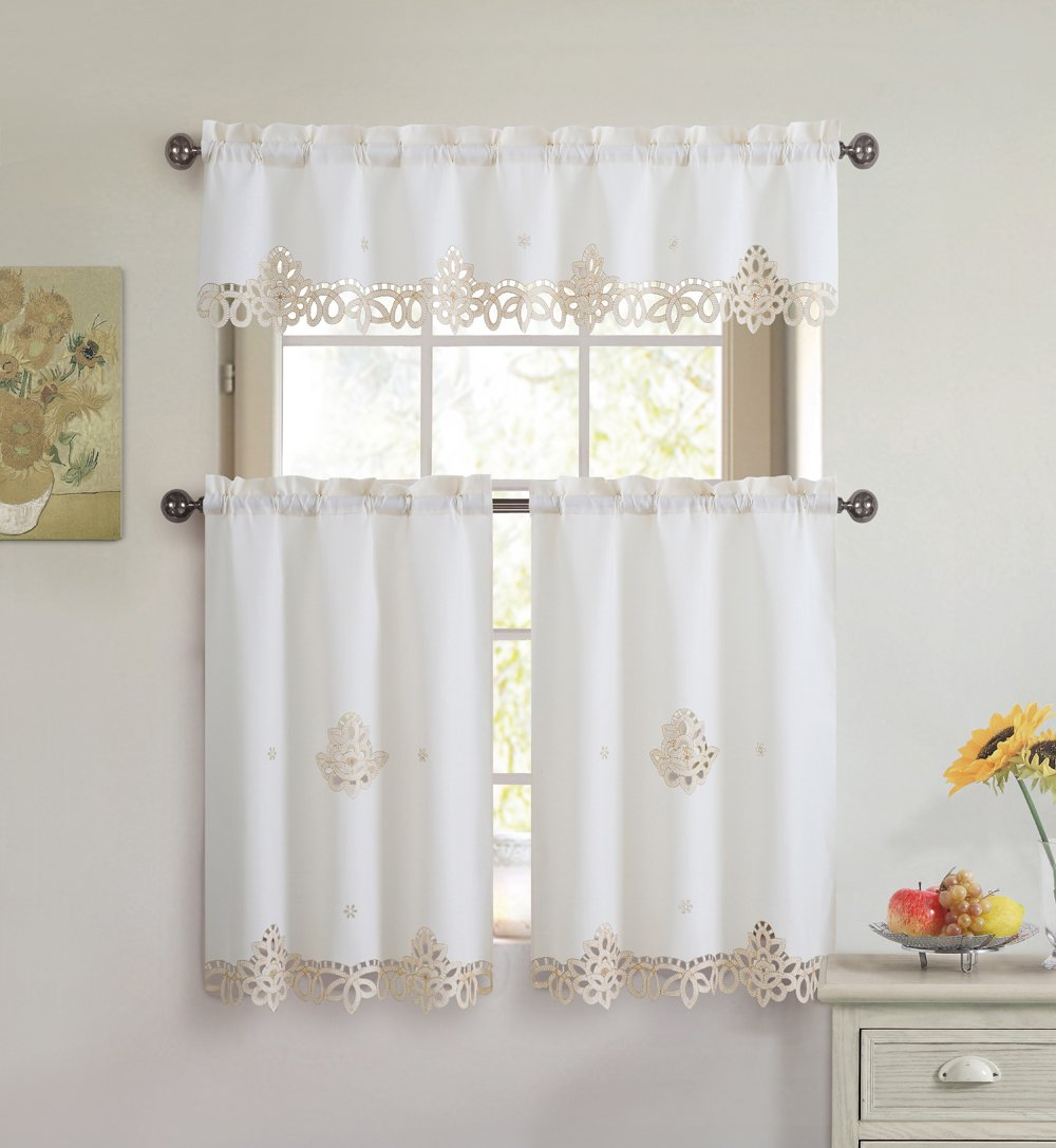 Geometric Print Microfiber 3 Piece Kitchen Curtain Valance And Tiers Sets Throughout Trendy 3 Piece Doily Embroidered Kitchen Window Curtain Set: 1 Valance And 2 Tiers (beige And Gold) (View 16 of 20)