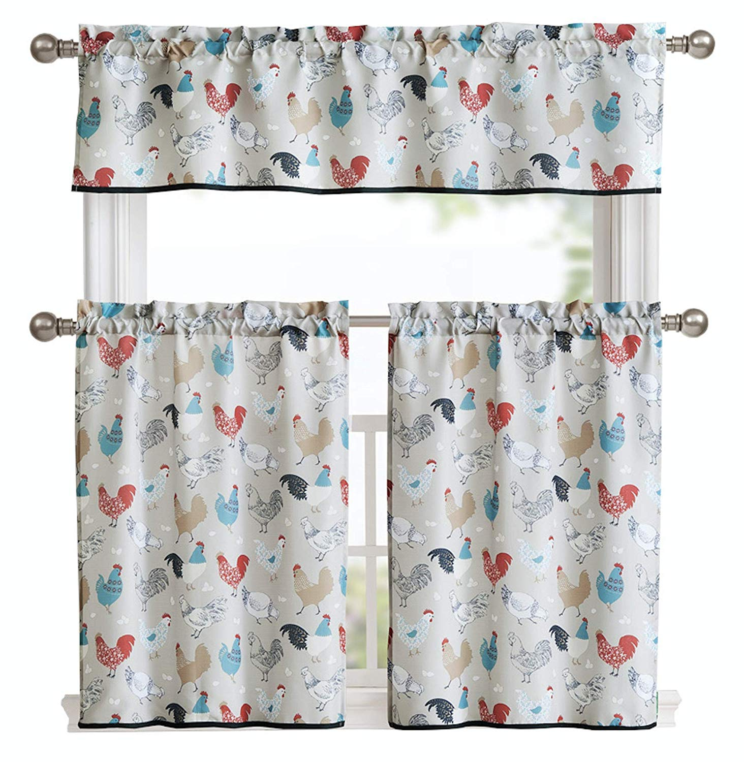 Geometric Print Microfiber 3 Piece Kitchen Curtain Valance And Tiers Sets With Widely Used Goodgram Multi Rooster Complete 3 Pc Kitchen Curtain Tier & Valance Set – Assorted Colors … (neutral) (View 4 of 20)