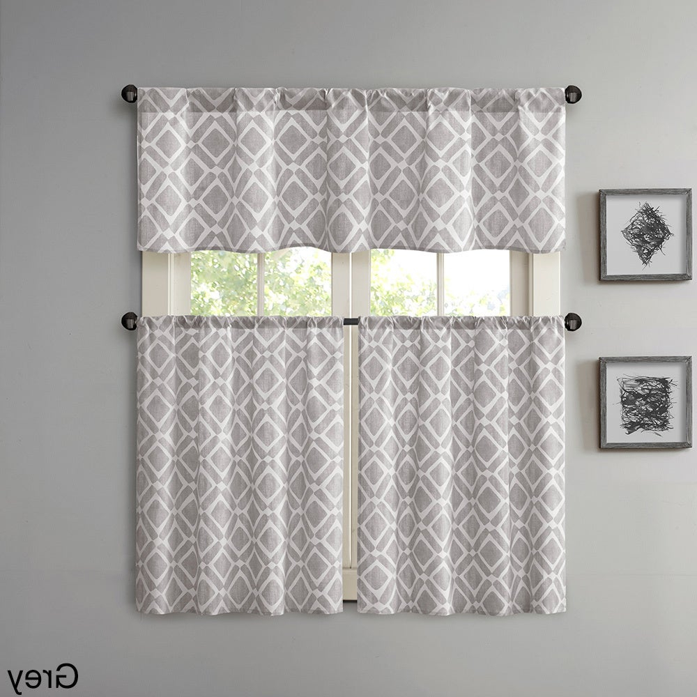 Geometric Print Microfiber 3 Piece Kitchen Curtain Valance And Tiers Sets Within Popular Madison Park Ella Printed Diamond Kitchen Tier (View 9 of 20)