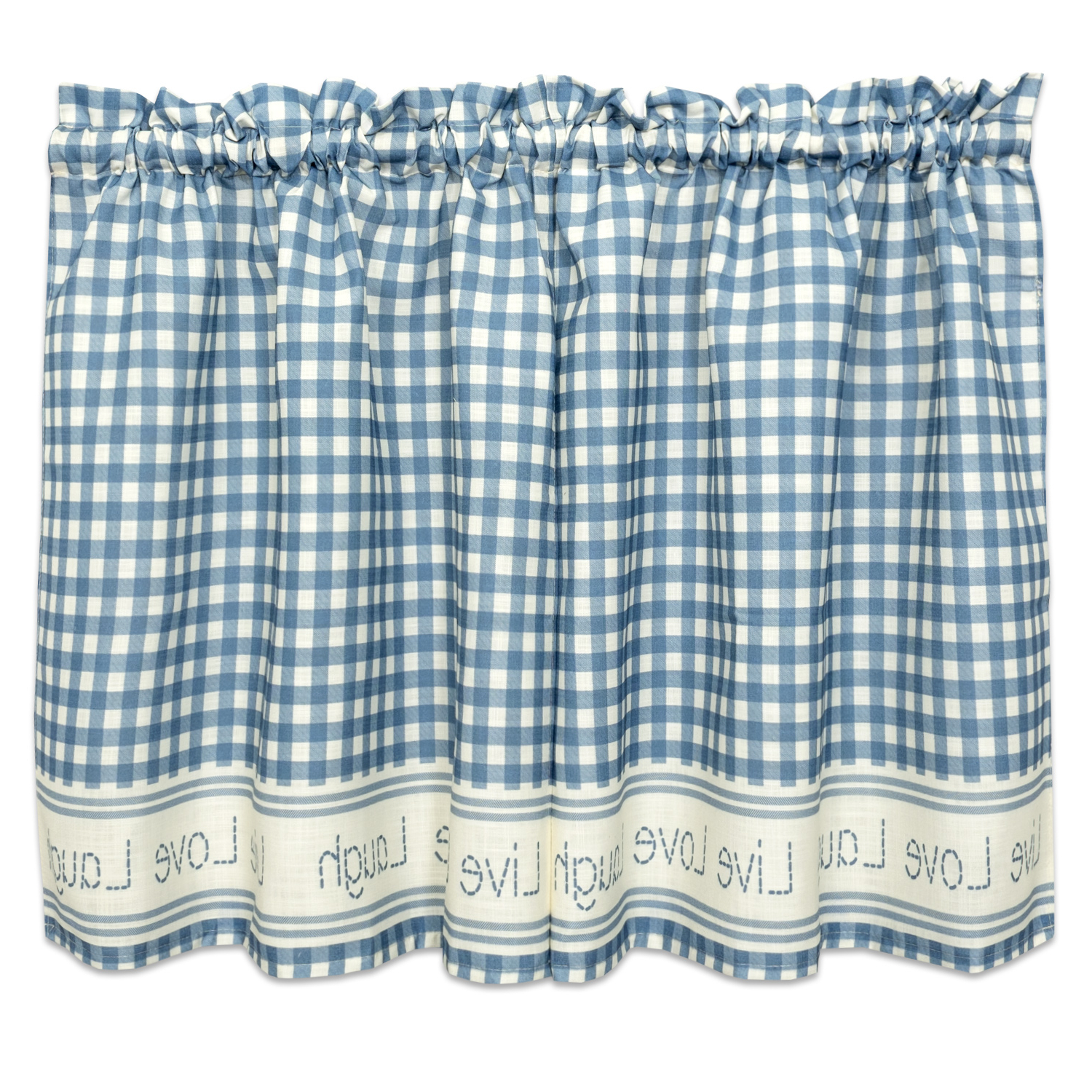 Gingham Stitch Live Laugh Love Kitchen Curtain Tier Pair Or Valance Blue Pertaining To Most Recently Released Live, Love, Laugh Window Curtain Tier Pair And Valance Sets (View 12 of 20)