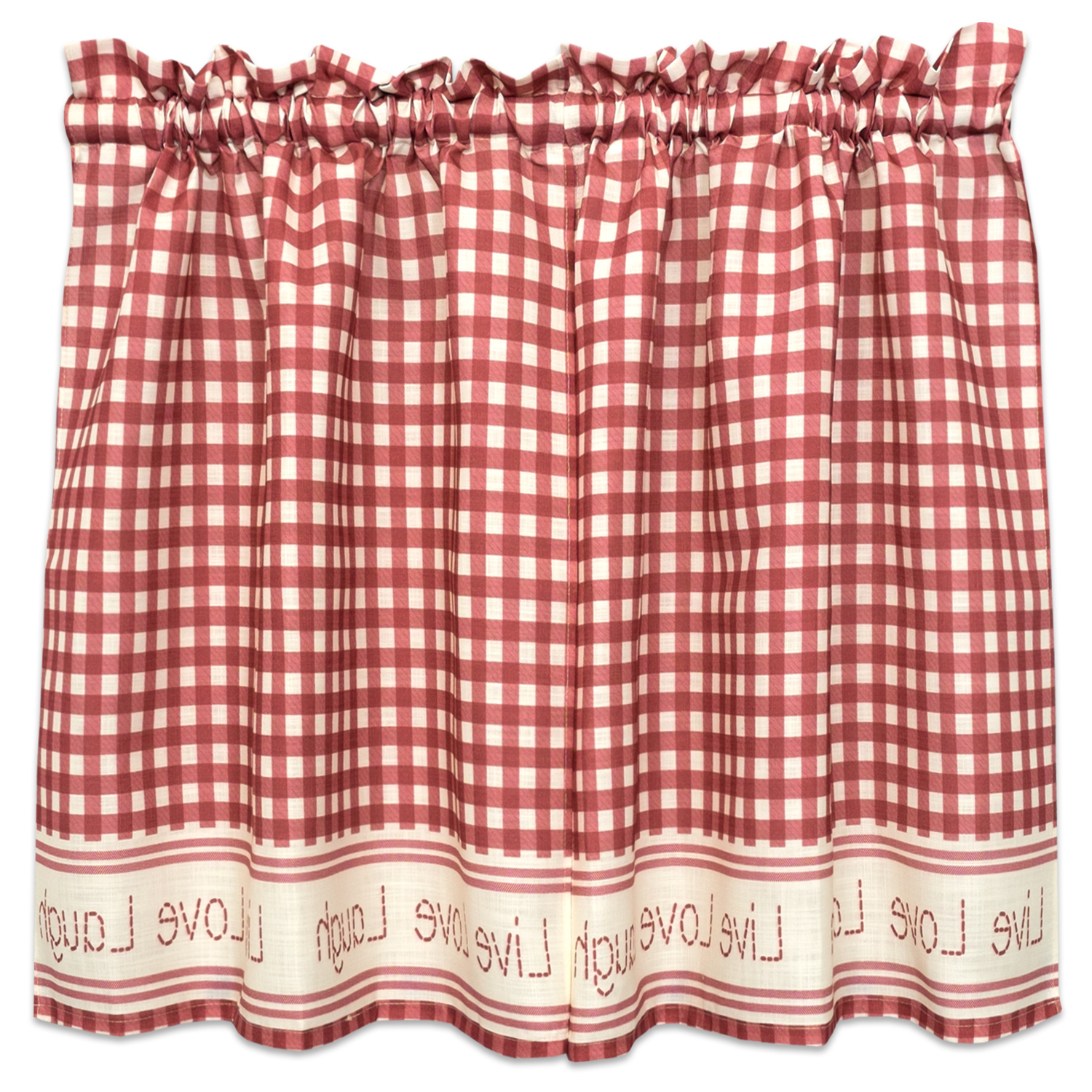 Gingham Stitch Live Laugh Love Kitchen Curtain Tier Pair Or Valance Red Throughout Newest Live, Love, Laugh Window Curtain Tier Pair And Valance Sets (View 17 of 20)